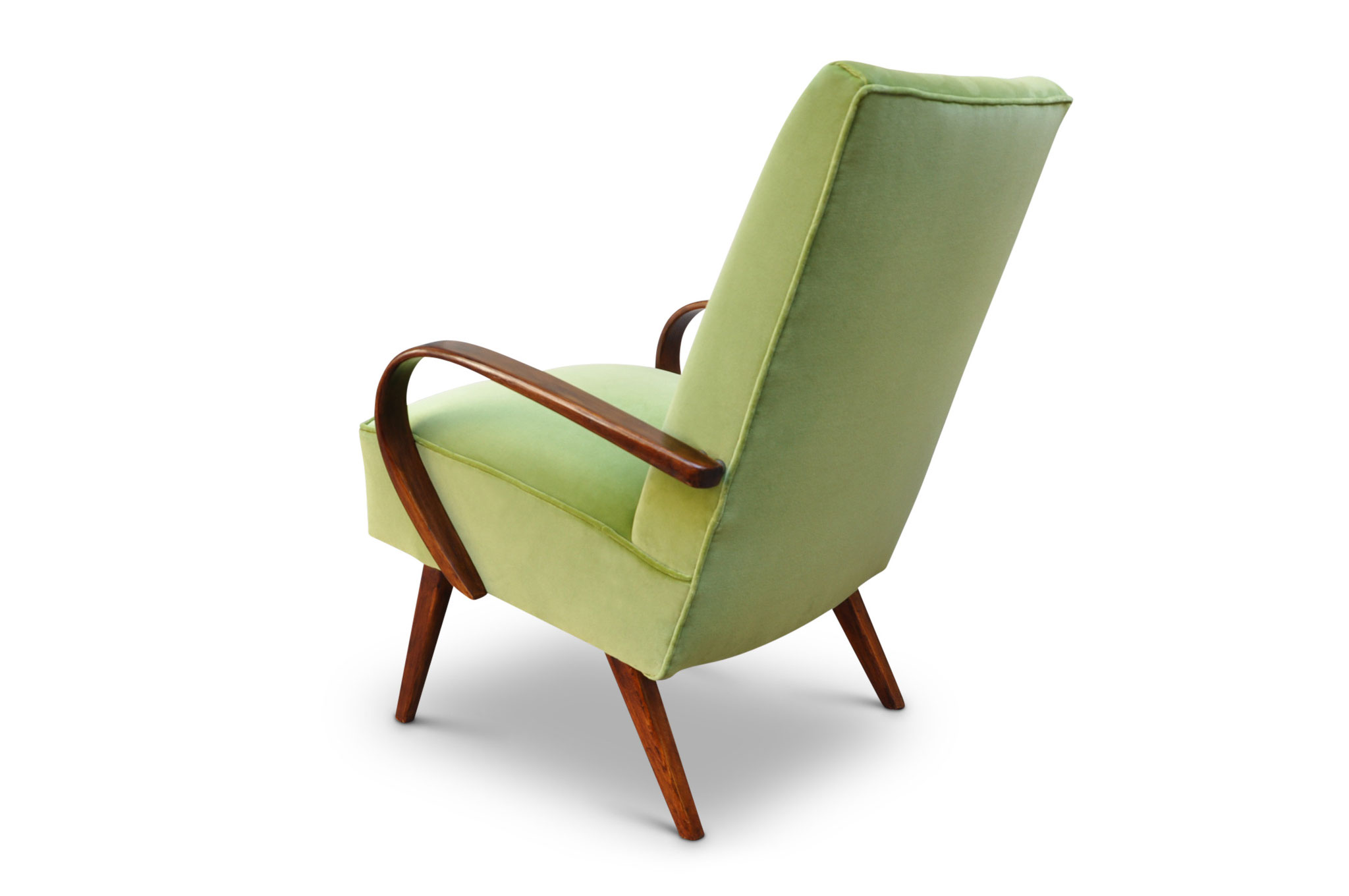 poltroncina art deco in velluto verde lime