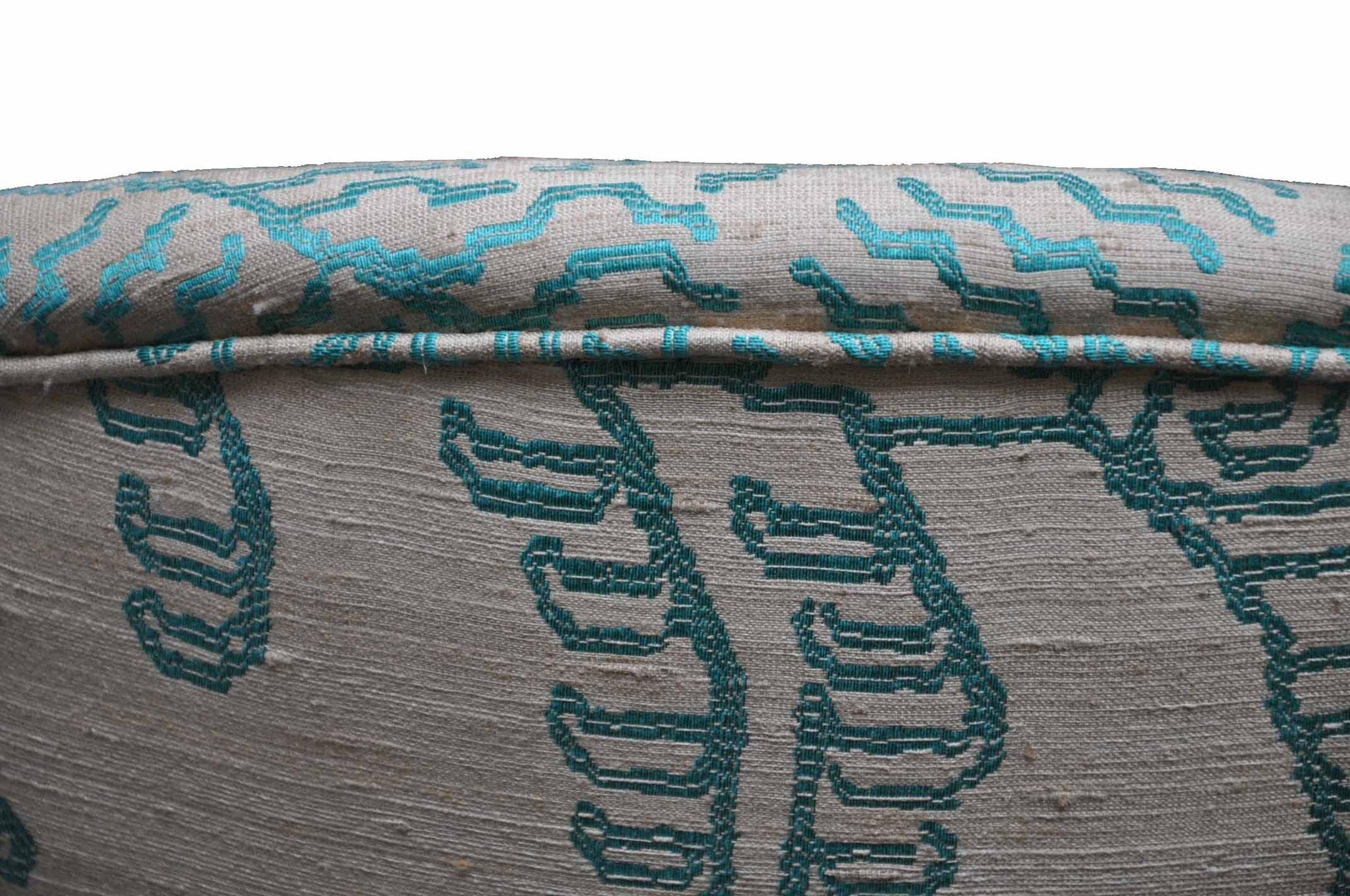 Seta tussah cruda con ricamo jacquard silk tiger