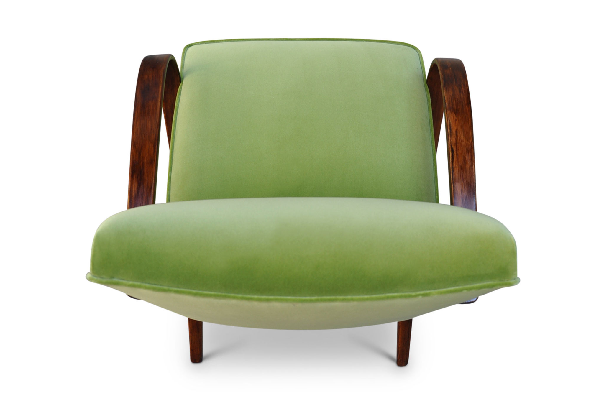 art deco chair in lime velvet