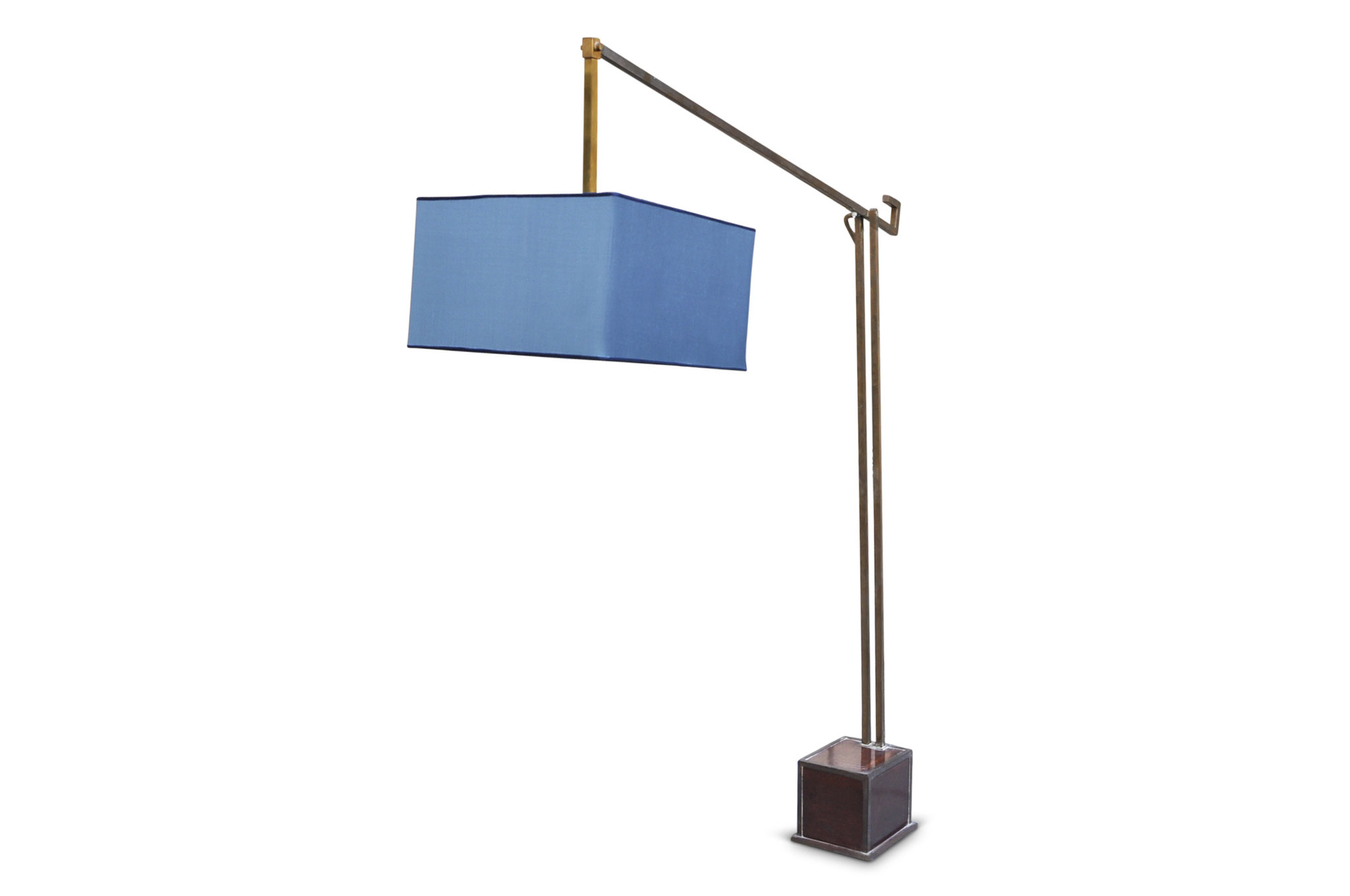 Midcentury brass floor lamp and silk shade