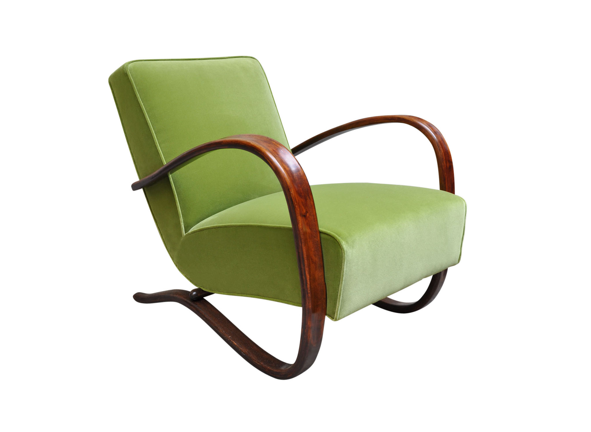 H269 mid century art deco chair lime velvet