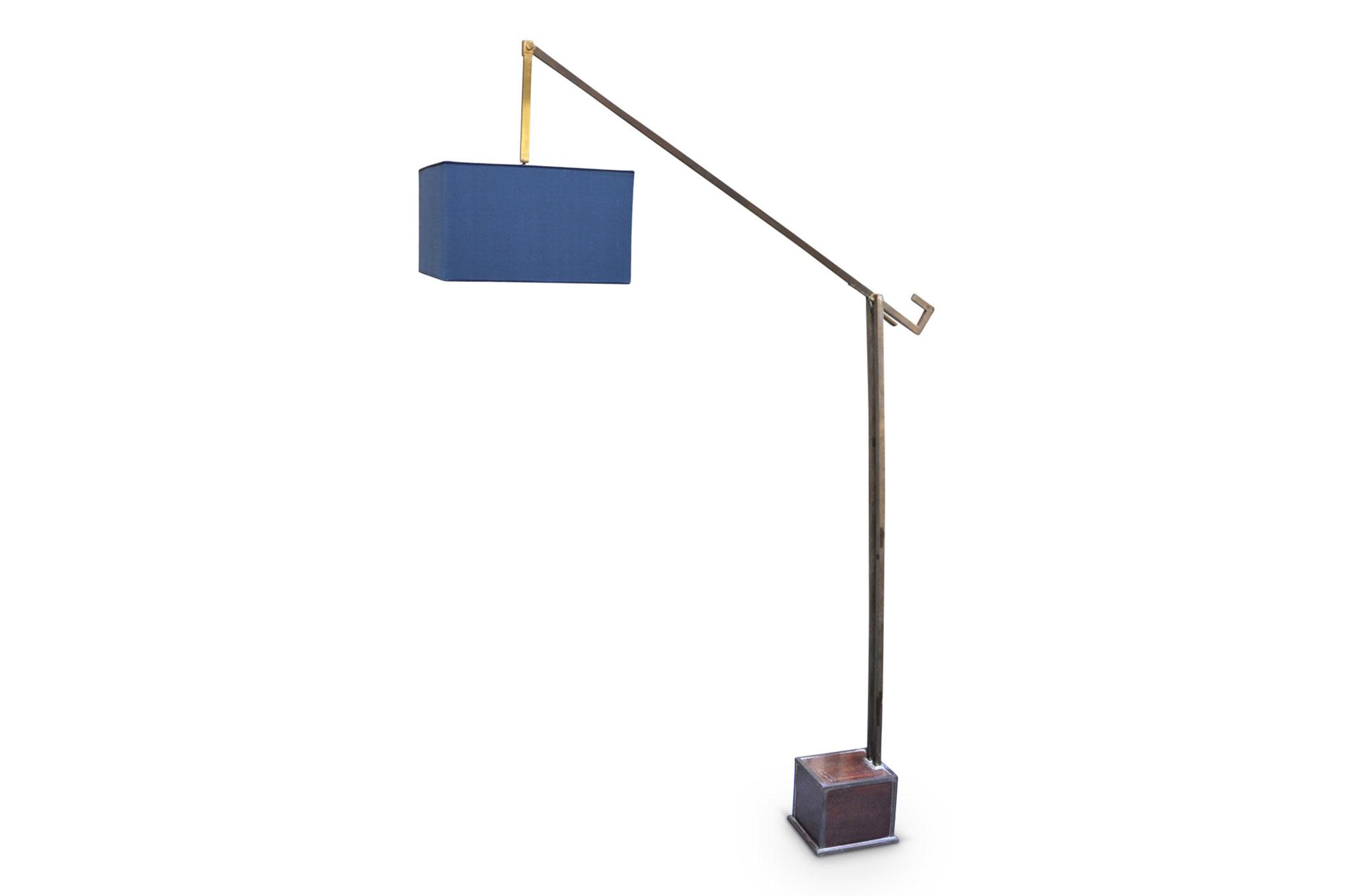 Lampada da terra vintage in ottone e seta