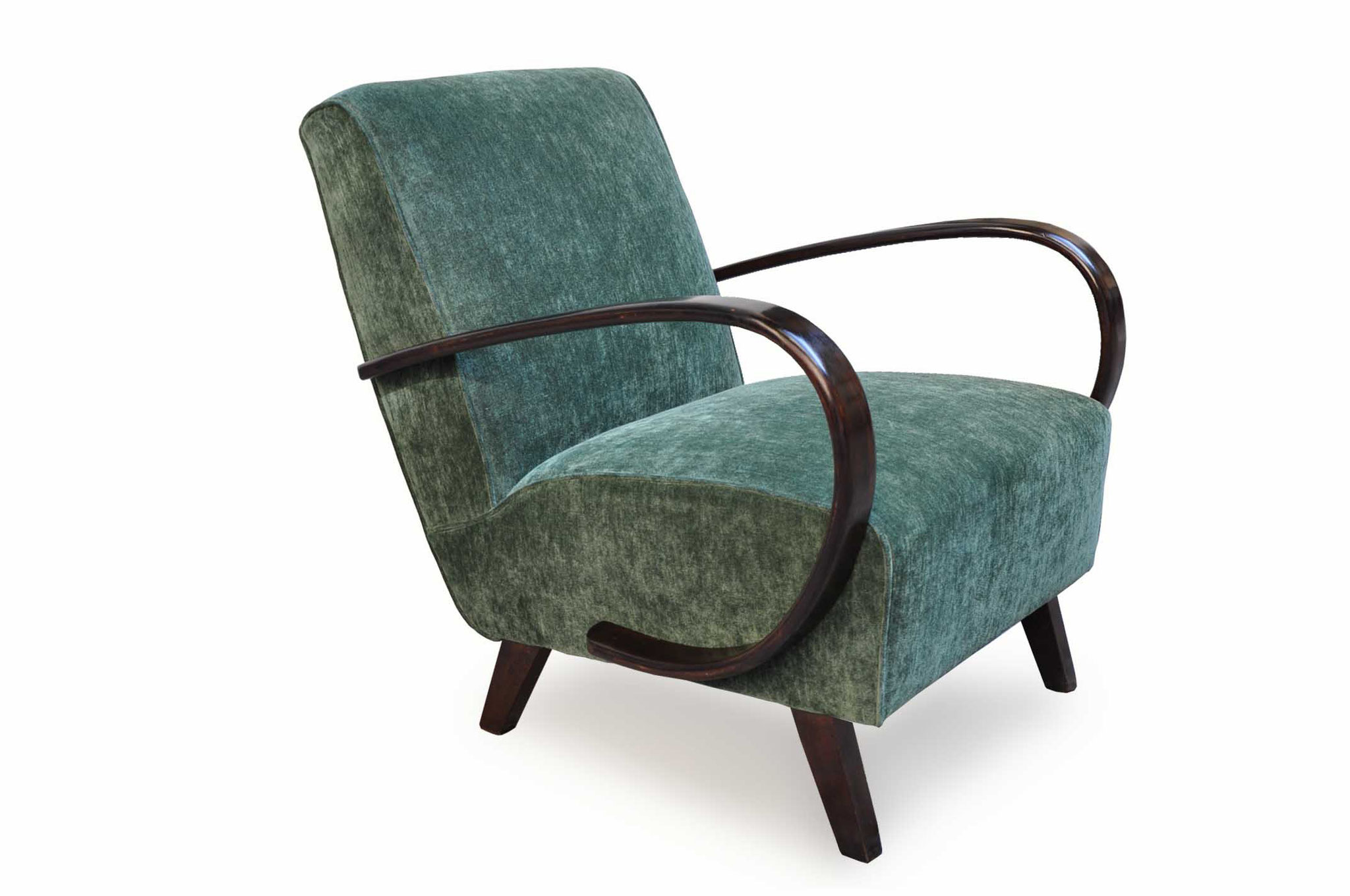 art deco chair in green chenille