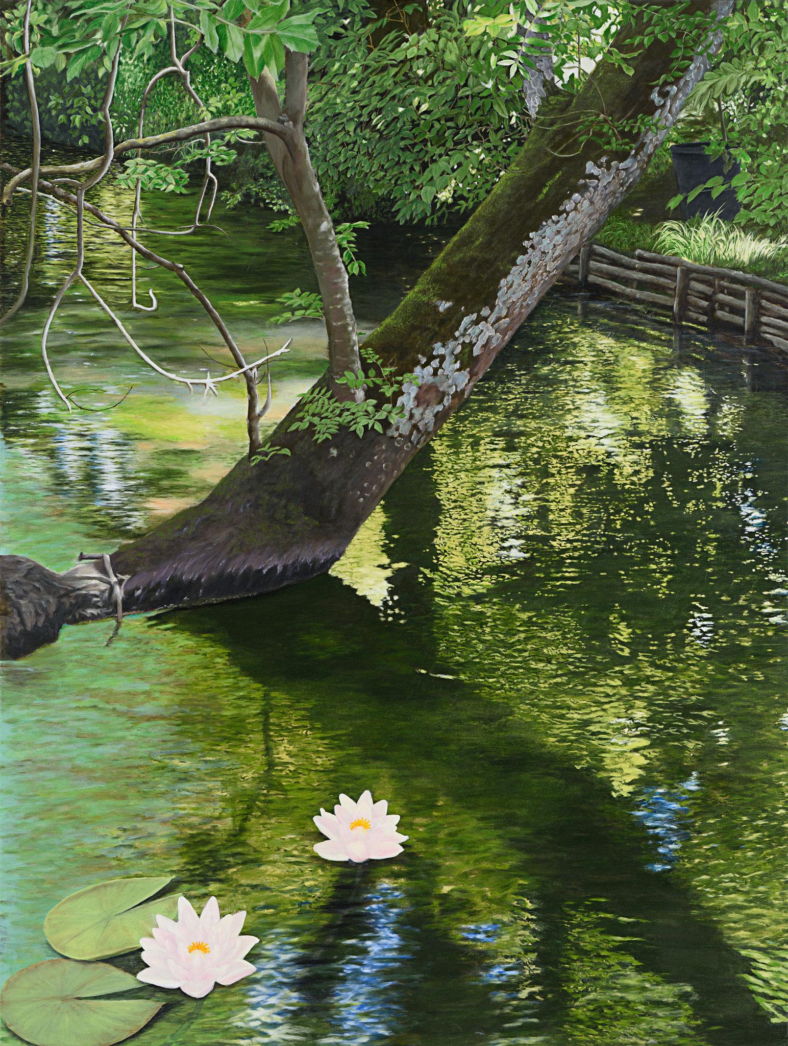 """Zwei Seerosen"" - Öl auf Leinwand - 130x98 cm"