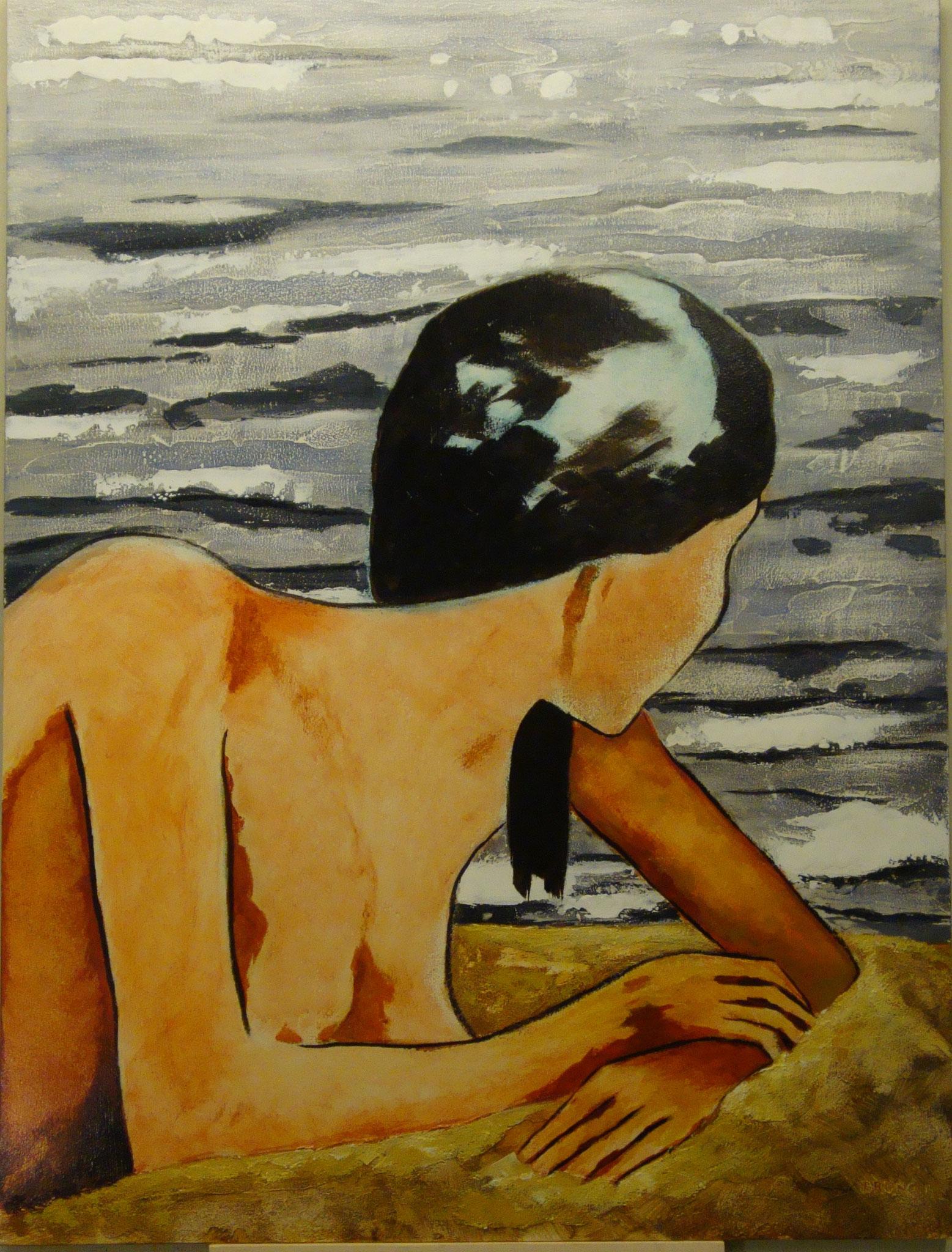 """Am Strand"" 2014 - Acryl auf Holz - 60x80 cm"