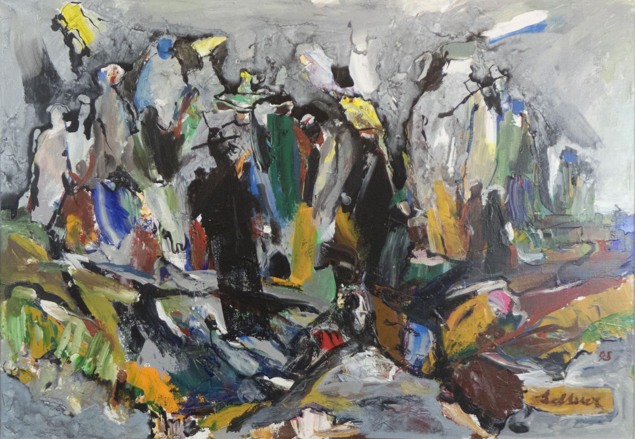 """""""Das Begräbnis eines Menschen mit gutem Herzen"""" 1995 - Acryl auf Leinwand - 100x70 cm"""