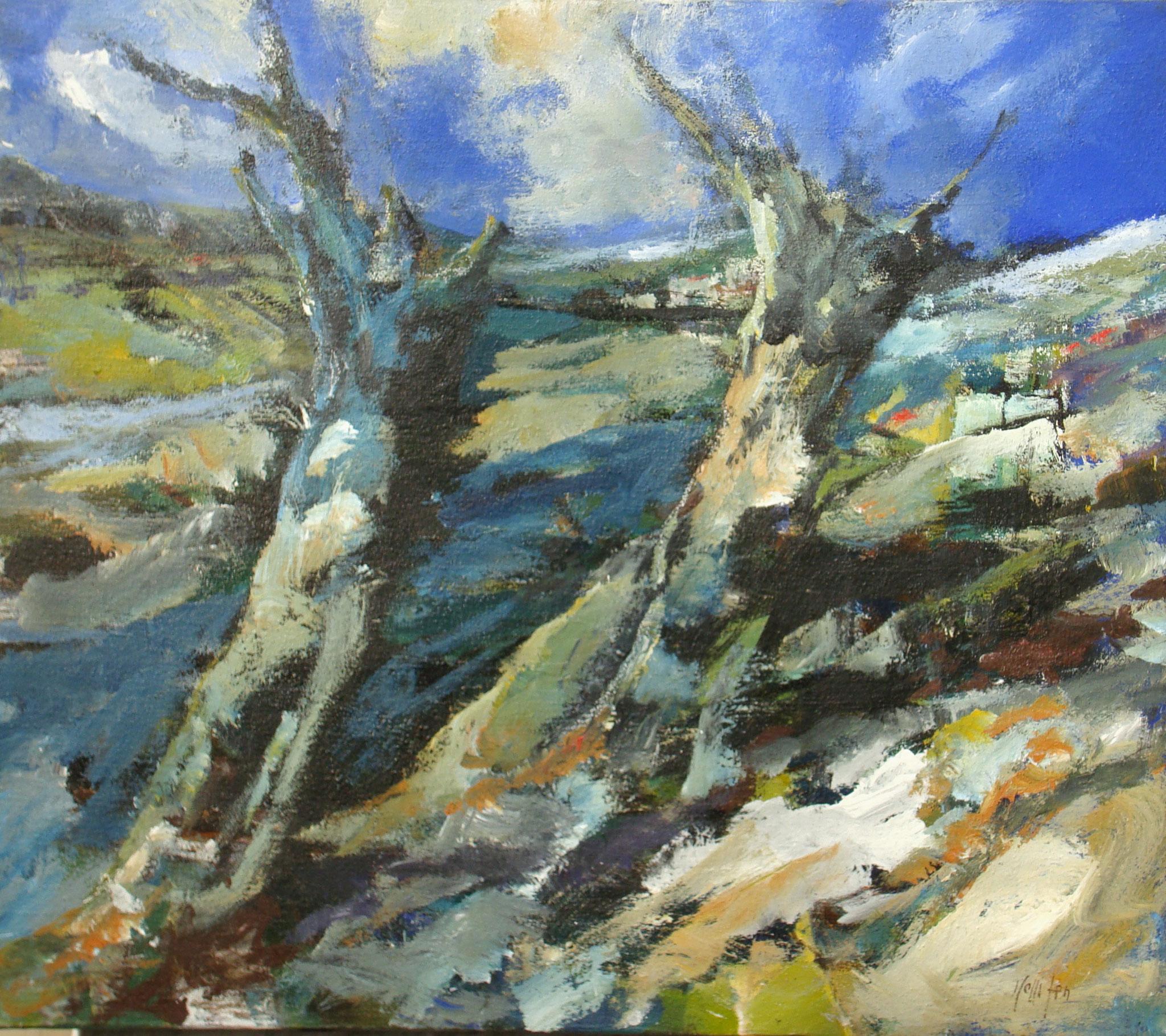 """""""Tronchi Lungo il fiume"""" 1997 - Öl auf Leinwand 70x80 cm"""