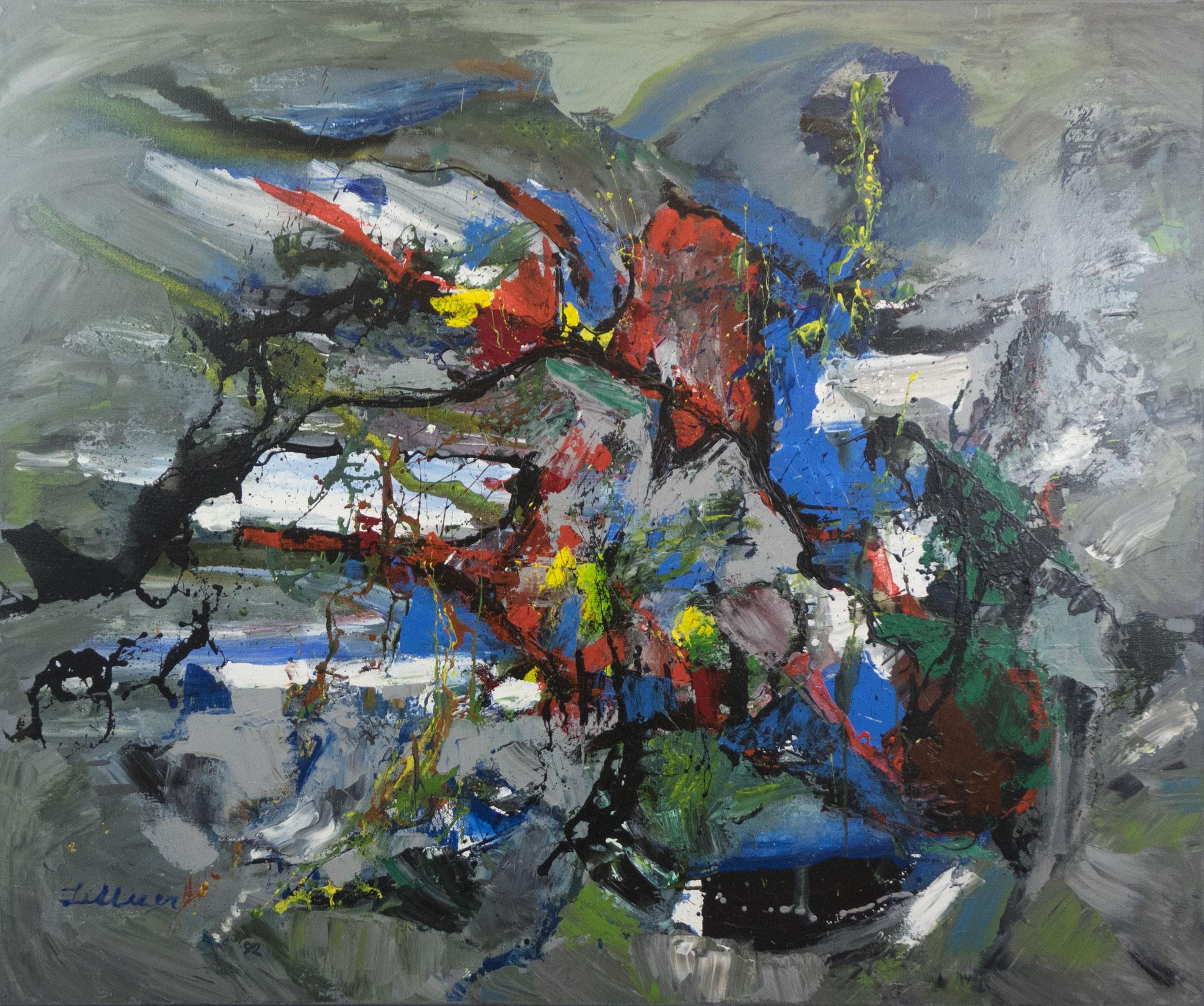 """""""Die Pulloverlandschaft"""" 1992 - Acryl auf Leinen - 120x100 cm"""