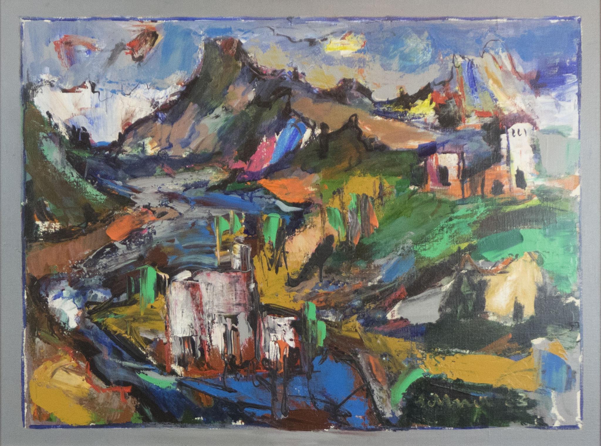 """Original Alpenbad"" 1983 - Acryl auf Leinwand - 80x60 cm"
