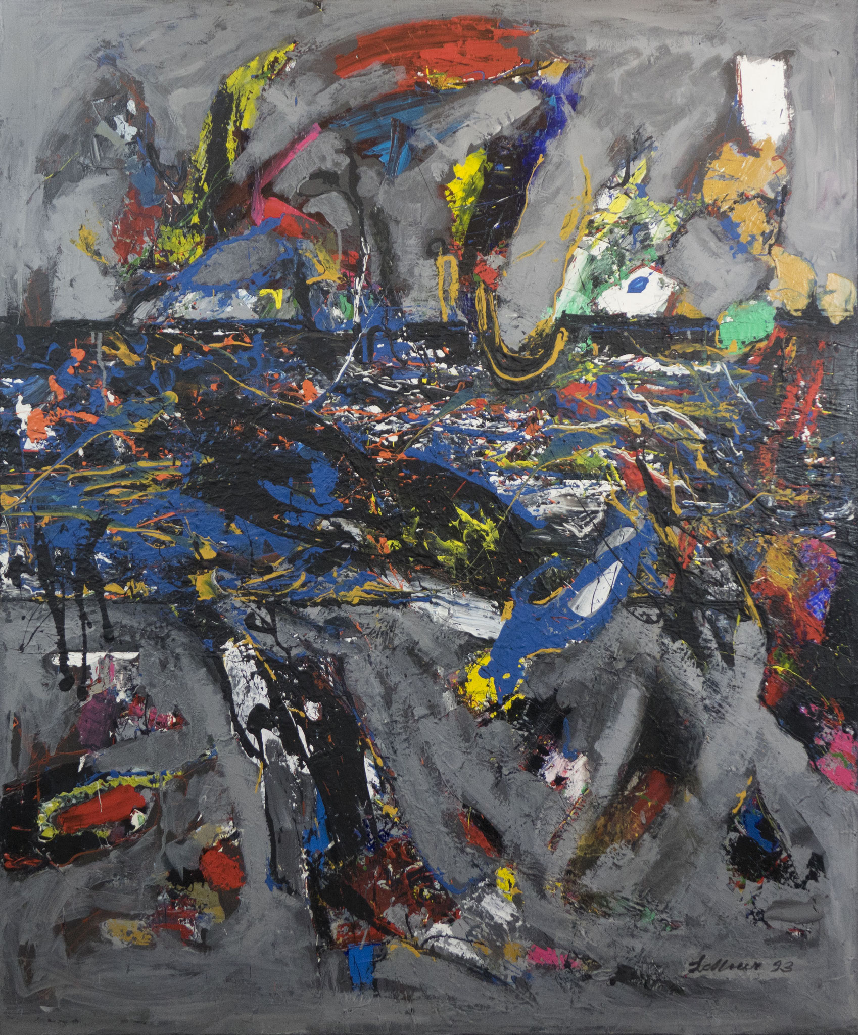 """""""Fischzug und Vogelflug"""" 1993 - Acryl auf Leinen - 100x120 cm"""