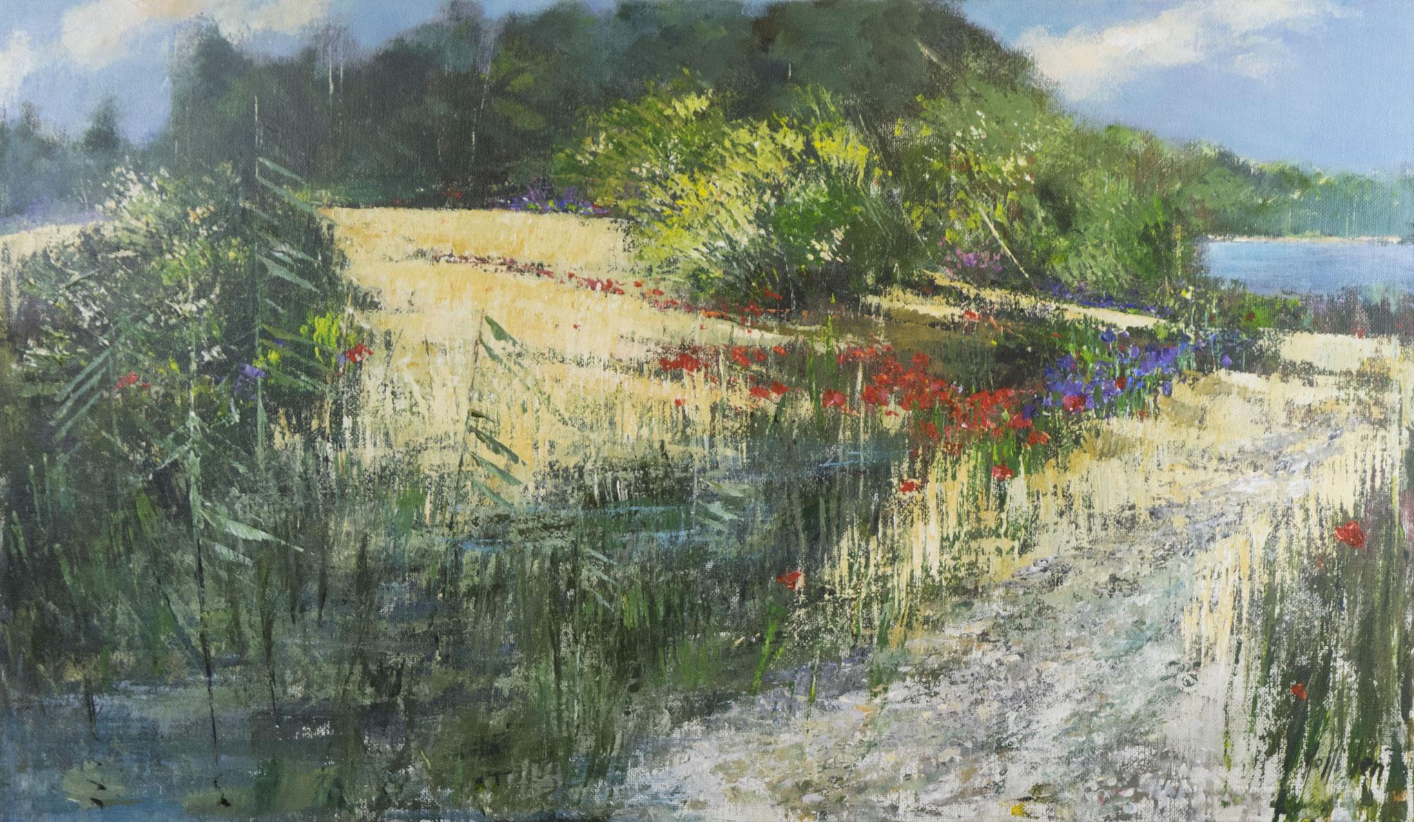 """Lo stagno fiorita"" - Öl auf Leinwand - 120x70 cm"