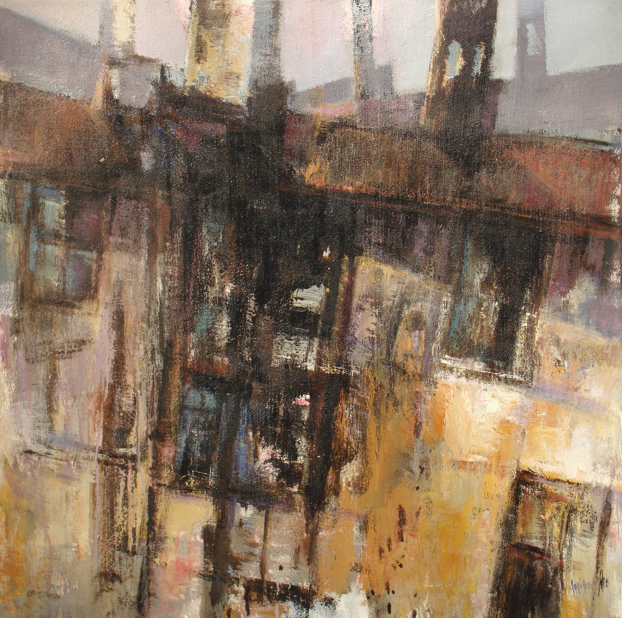 """""""Gia Scenografia"""" 2000 - Öl auf Leinwand - 80x80 cm"""
