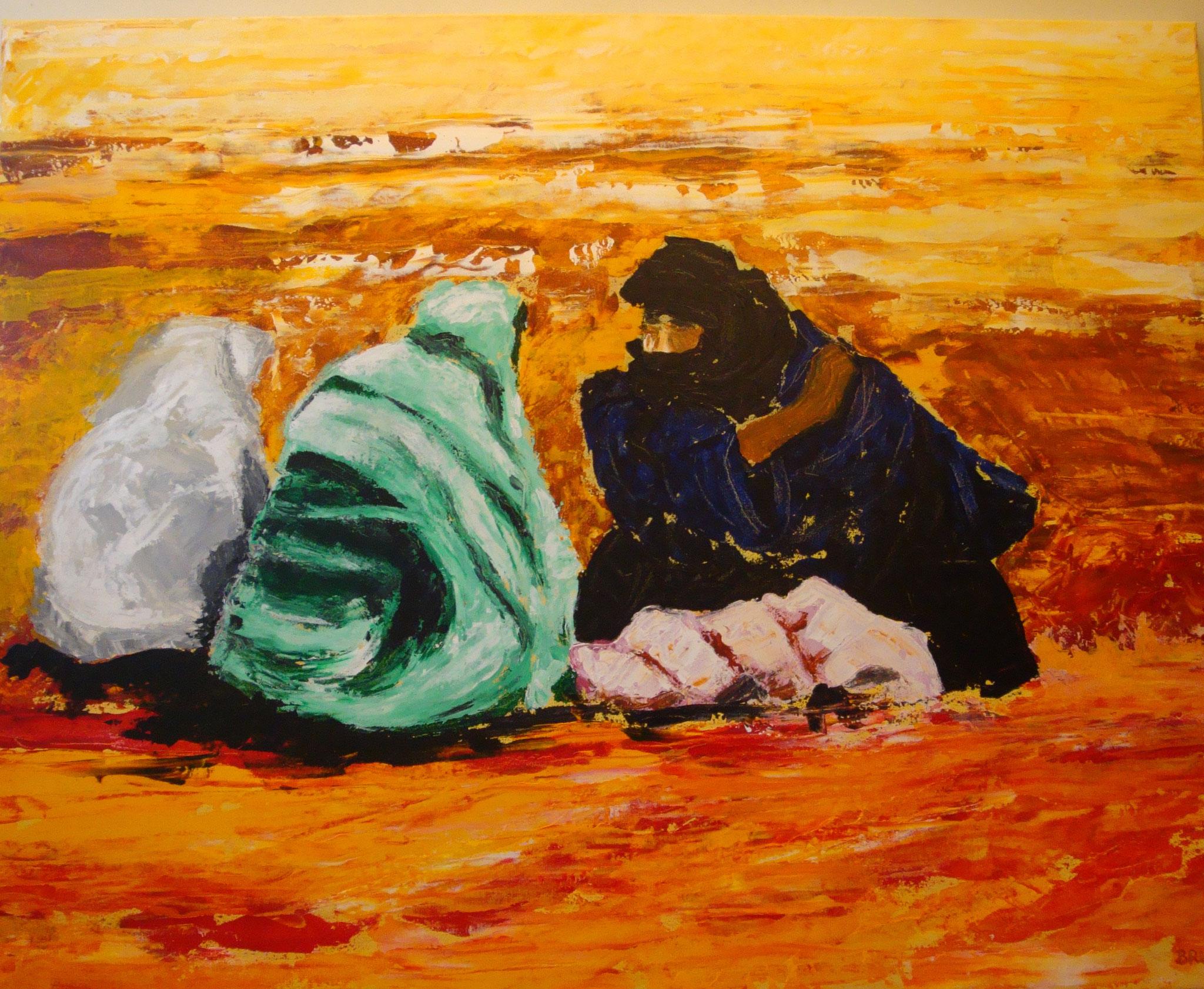 """""""Handel in der Wüste"""" 2009 - Acryl auf Leinen - 100x80 cm"""