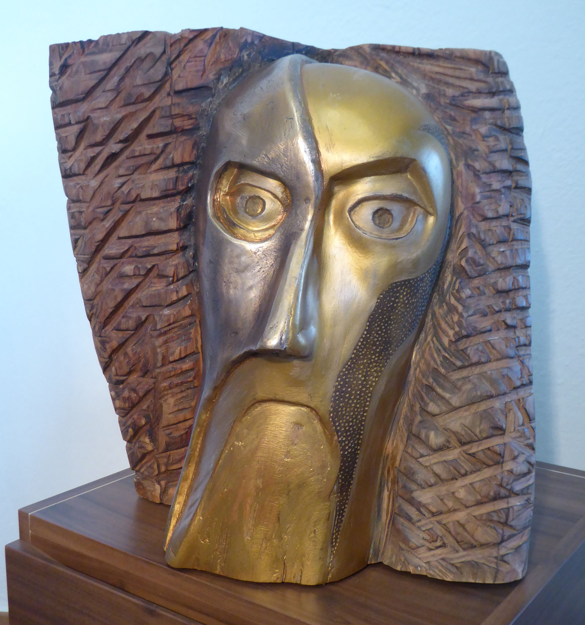 """Phantom"" - Ahornhol und Bronze - 36x42x40 cm"