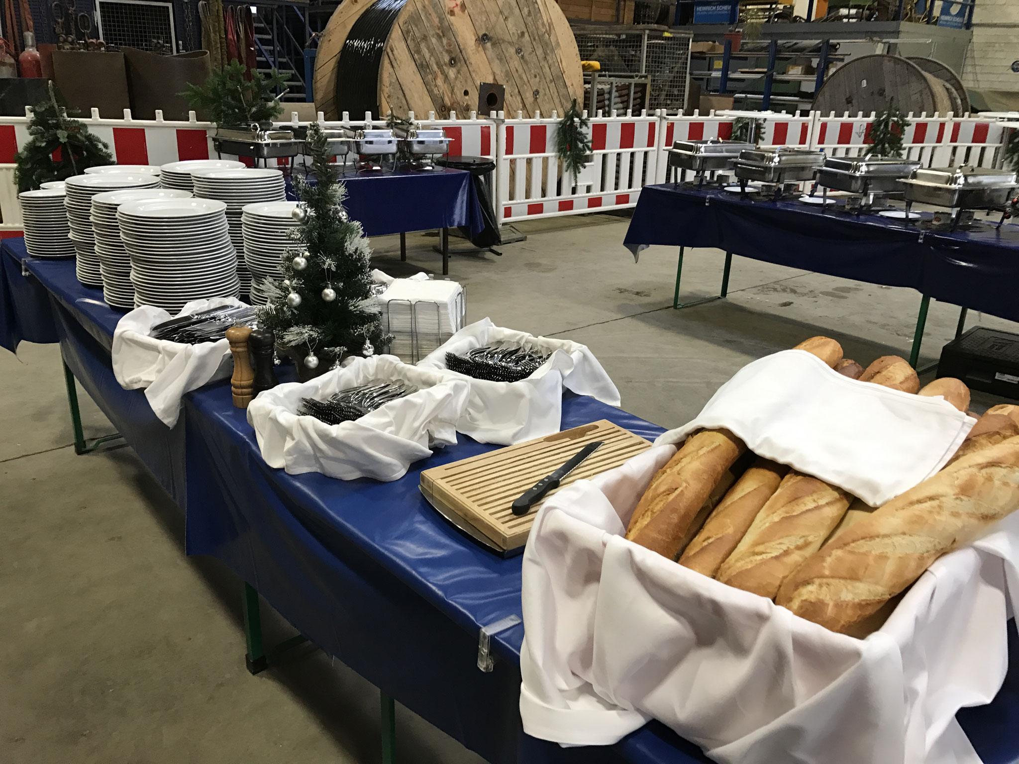 Brotstation auf Weihnachtsfeier