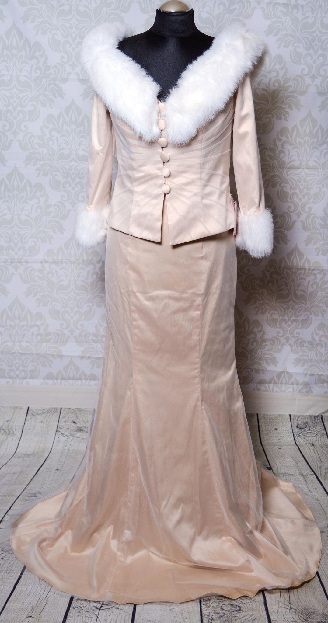 Nr. 7Hochwertiges Cappuccino Farbenes Kleid mit Felljacke ( kein Echtfell !) von Isabel de Mestre Gr. 38 kann auch ohne Jacke getragen werden
