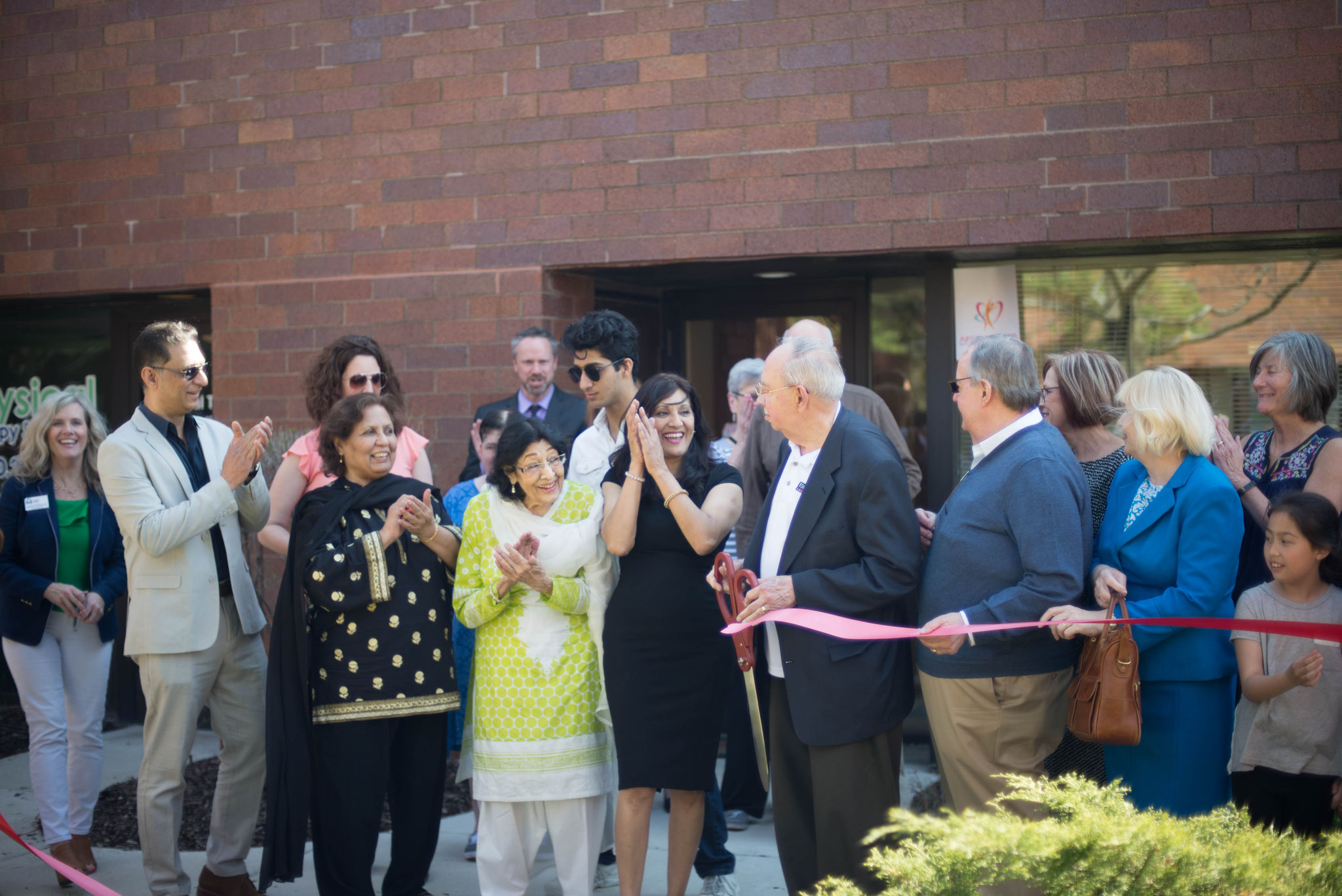 Ribbon cutting with Schaumburg Mayor Larson, friends and family