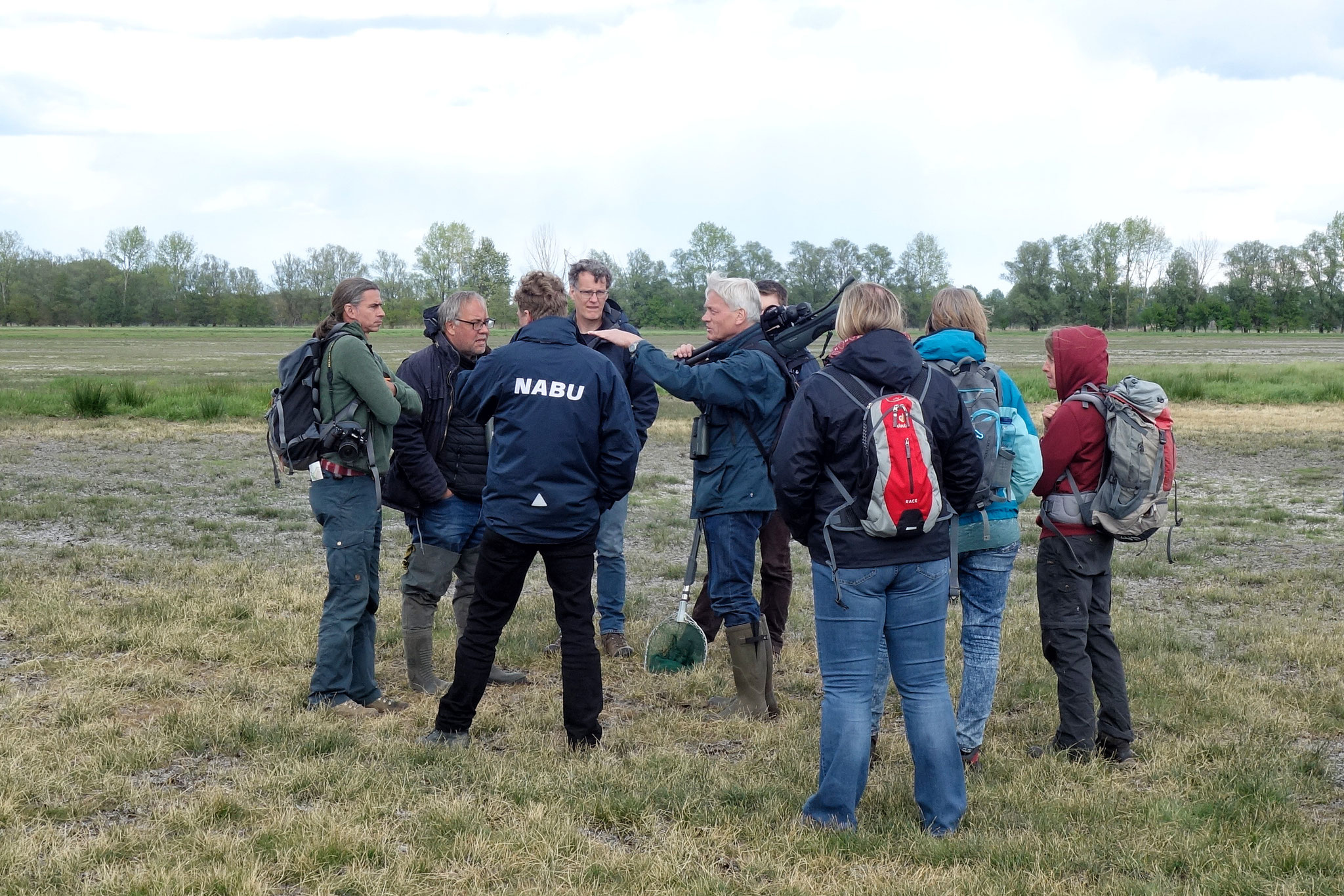 Dr. Norbert Schneeweiß (Mitte) erläutert der Exkursionsgruppe die Rotbauchunken-Lebensräume auf Feuchtwiesen im Rhinluch