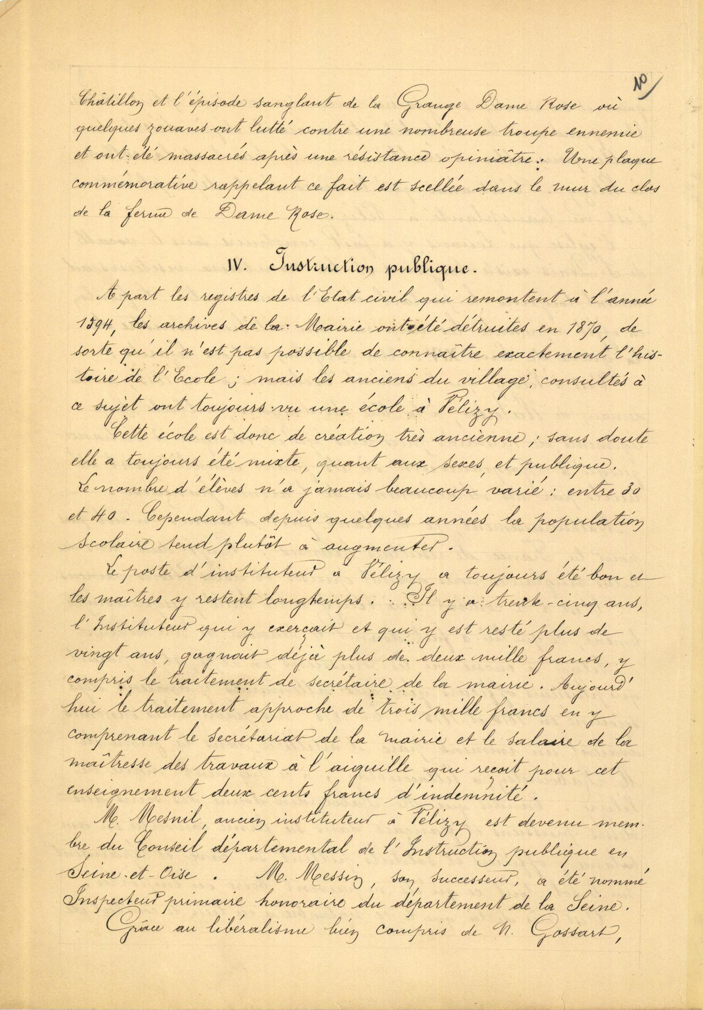 Page 10 - Monographie communale de l'instituteur de Vélizy, 1899