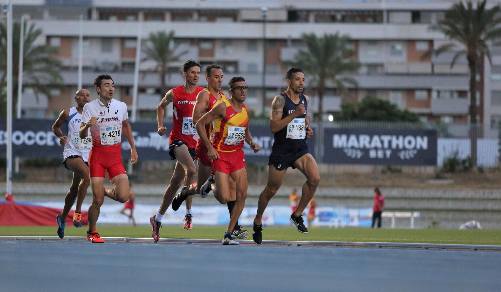 Rachid FARID en pleine course aux Championnats du monde Masters 2018 à Malaga.