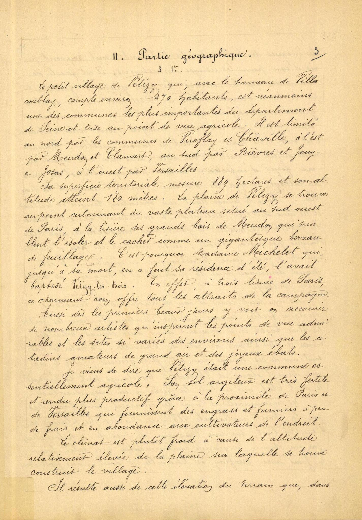 Page 3 - Monographie communale de l'instituteur de Vélizy, 1899