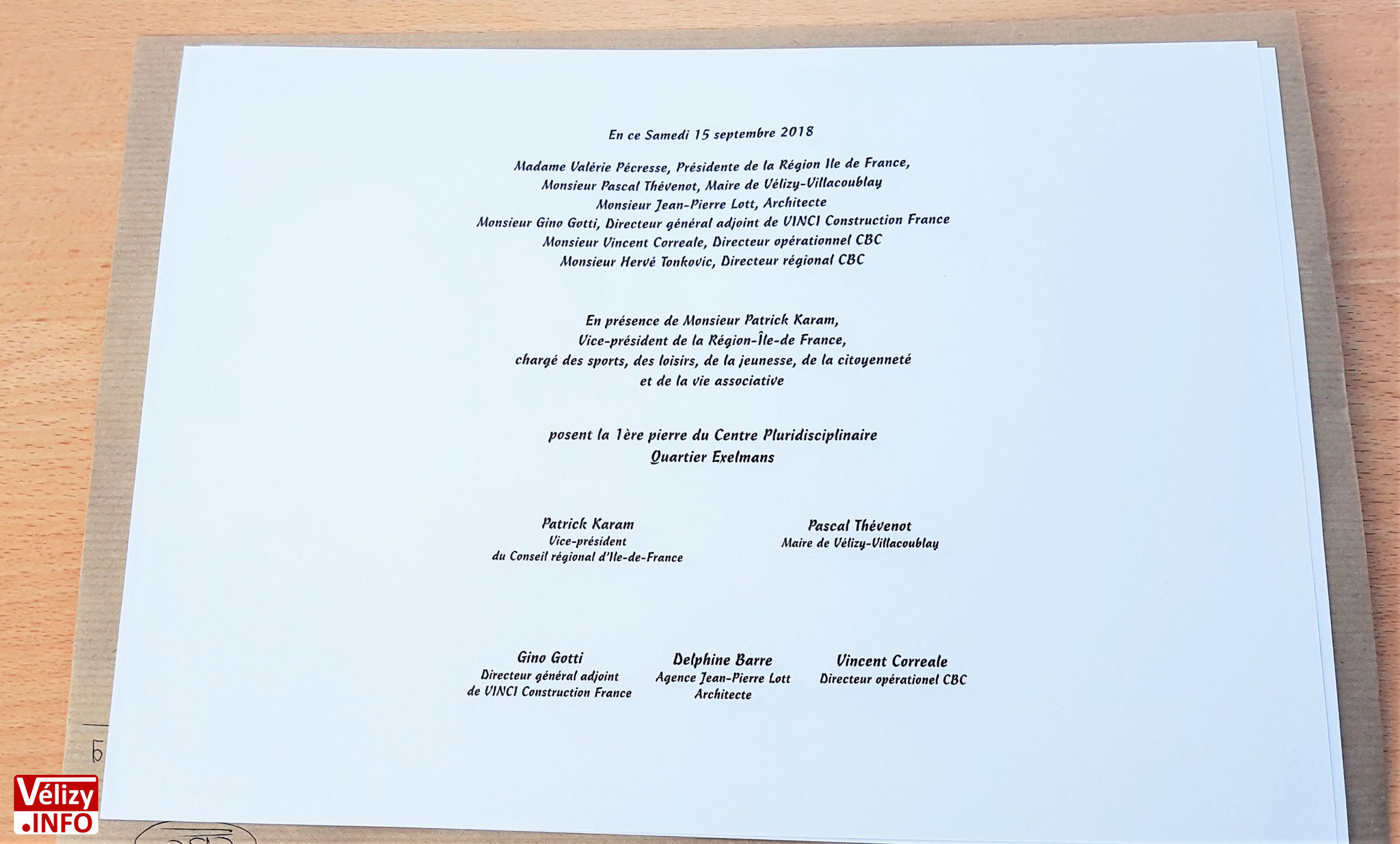 Pose de la première pierre du centre pluridisciplinaire de Vélizy-Villacoublay - Samedi 15 septembre 2018