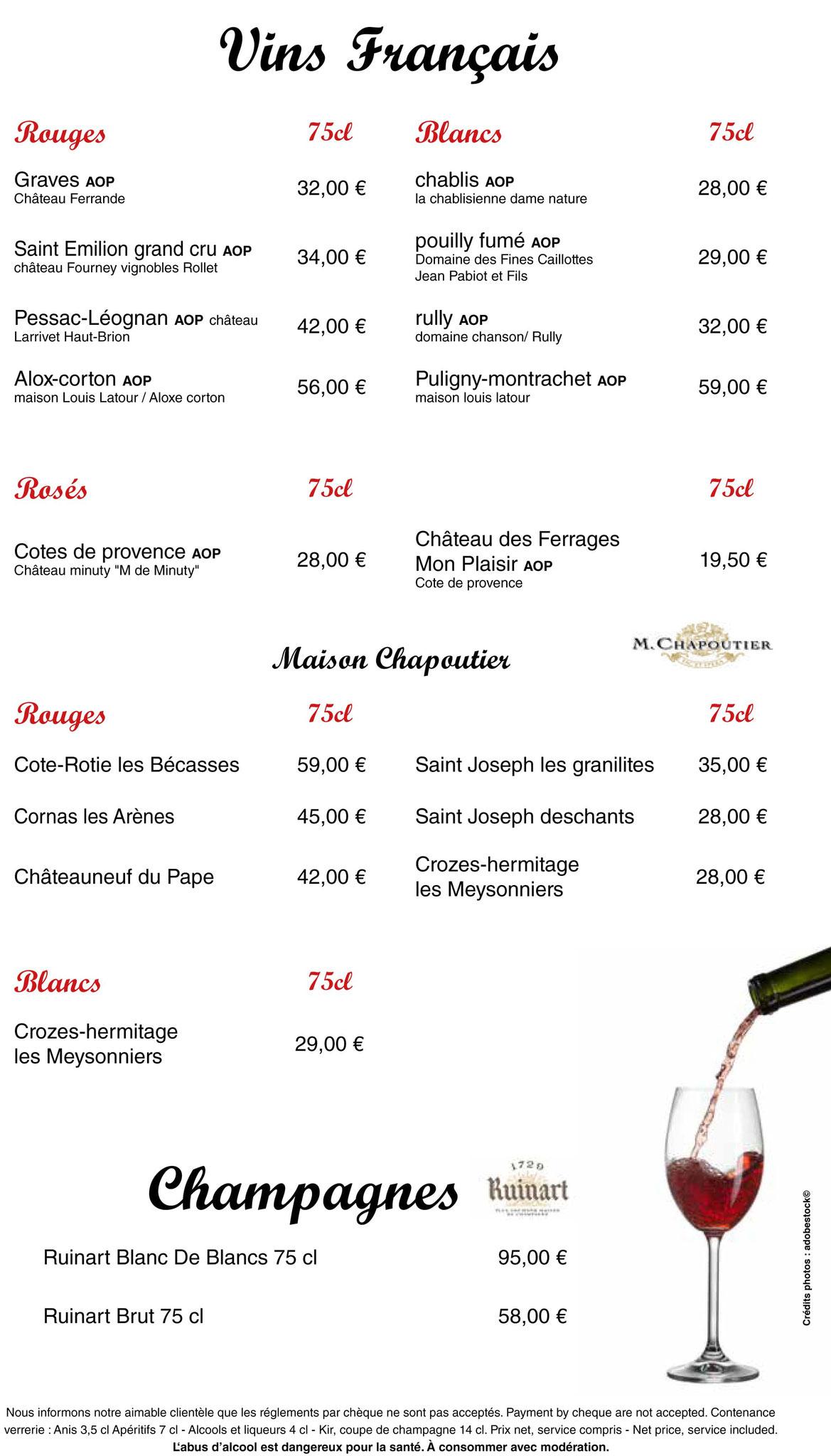 Carte du restaurant LA PIAZZETTA - Vélizy-Villacoublay