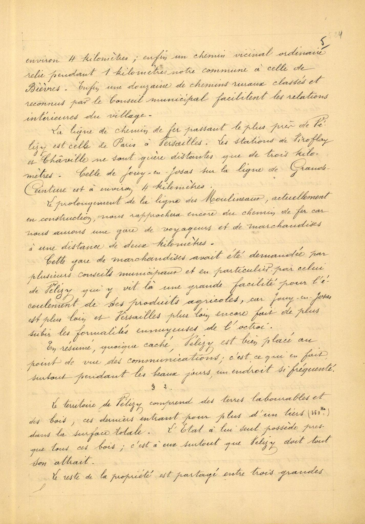Page 5 - Monographie communale de l'instituteur de Vélizy, 1899