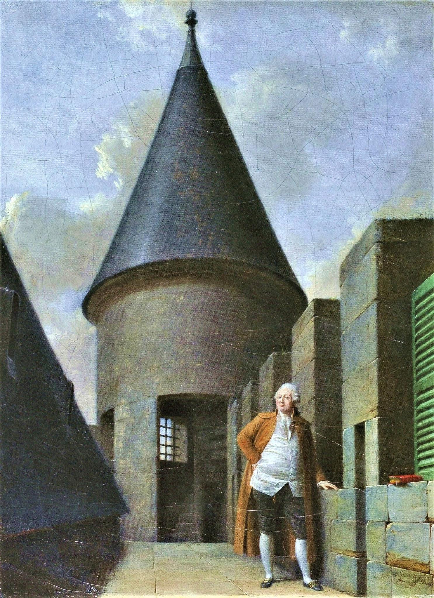 Louis XVI prisonnier à la Tour du Temple de Paris. Peinture de Jean-françois Gardenay. Musée Carnavalet
