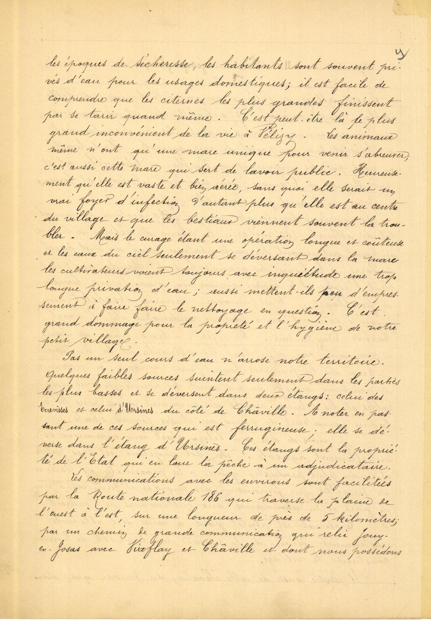 Page 4 - Monographie communale de l'instituteur de Vélizy, 1899