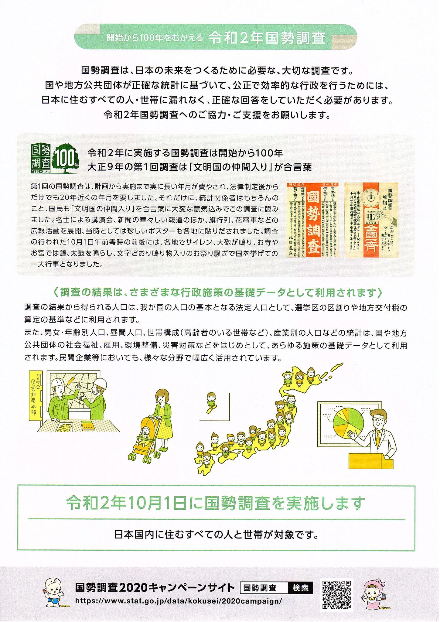 令和2年10月1日に国勢調査を実施します