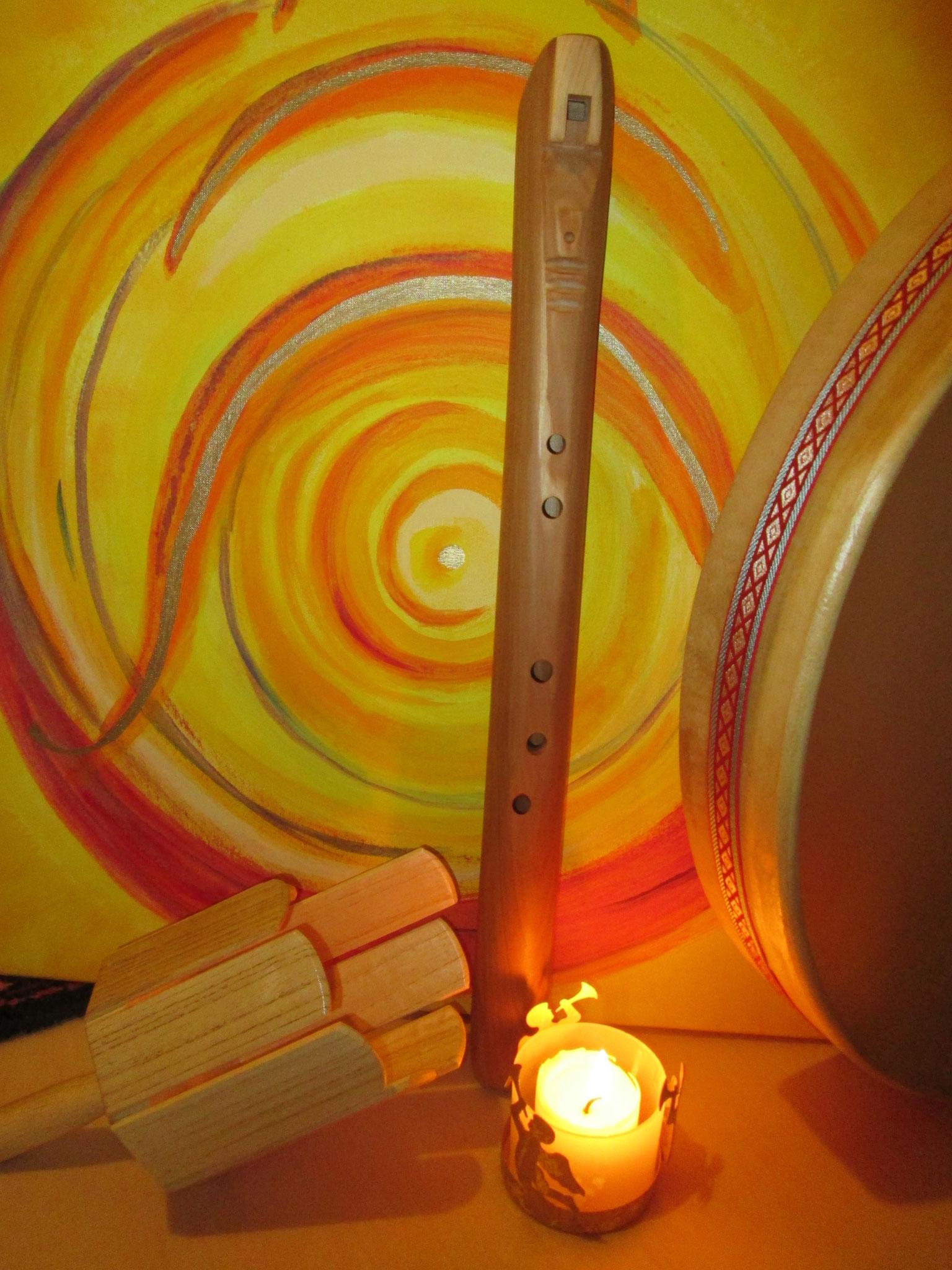 Erdklangflöte, Rührtrommel, Ocean Drum