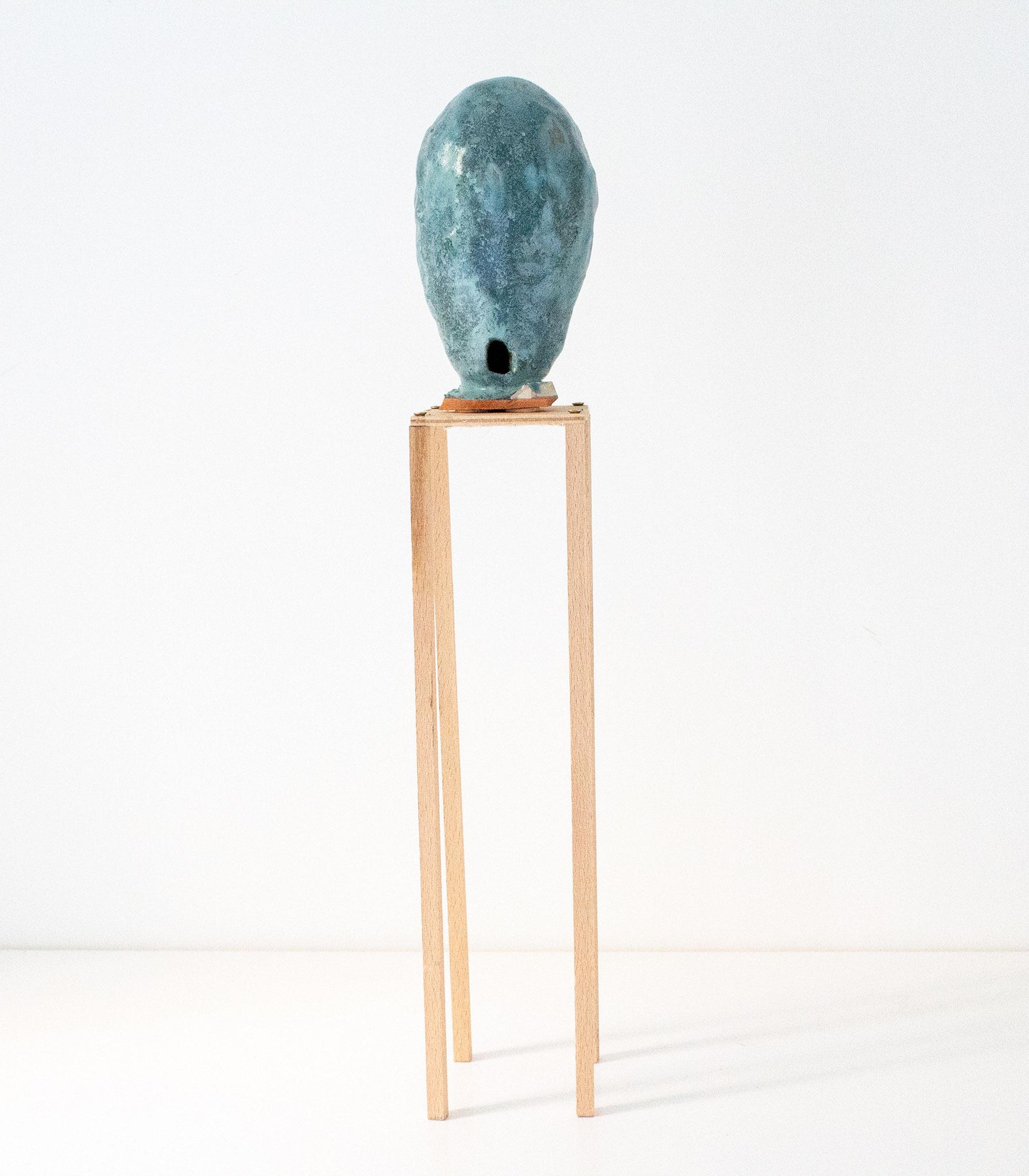 Wasserturm_Keramik, Glasur,Tonscherbe,Holz_46 x 8 x 8_2018