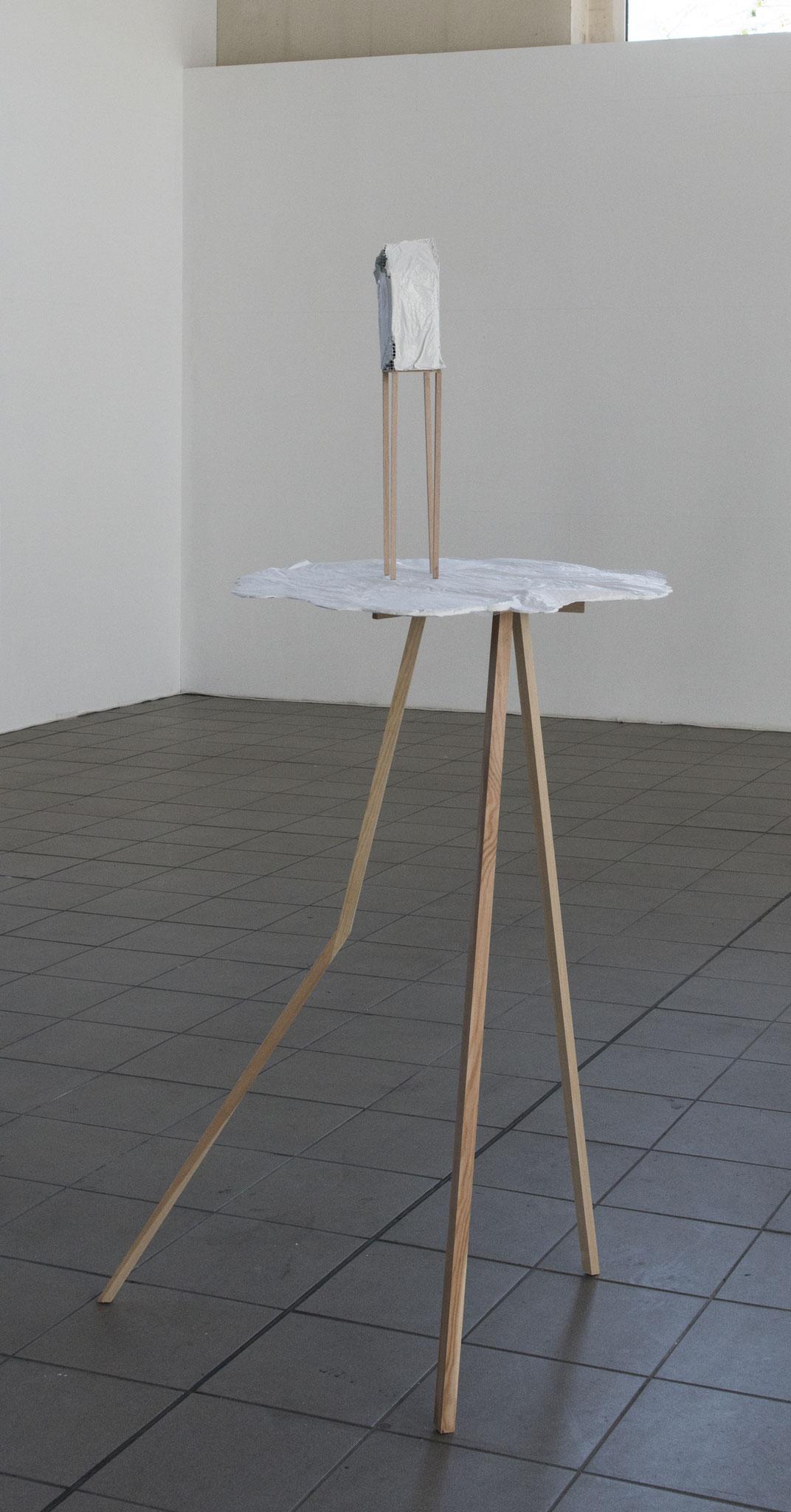 Wolkenkuckucksheim_2018_Holz, Zement, Gewebe_ca 200 x 120 x 60 cm_Foto: Gabi Rottes