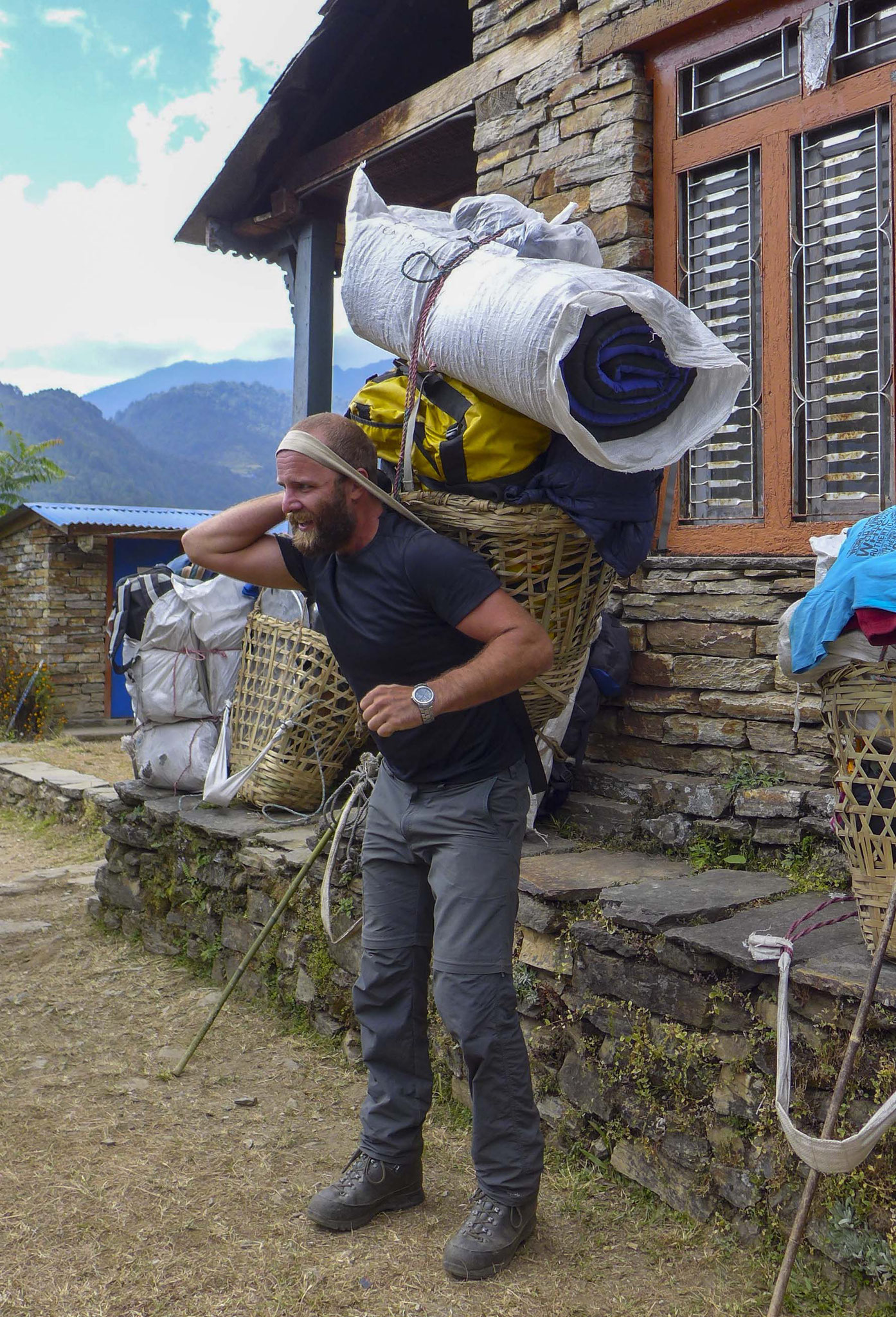 The luggage of the porters
