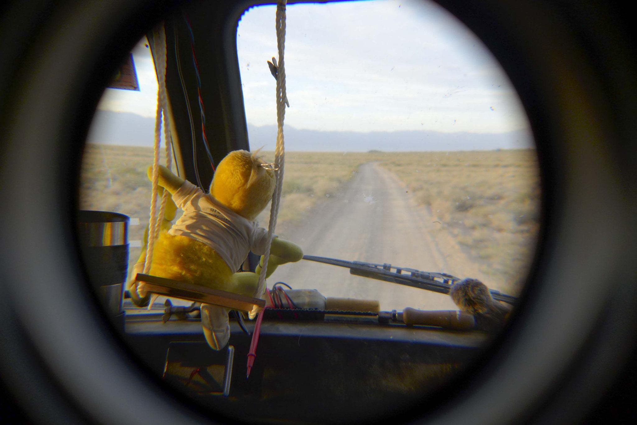 Auf dem Rückweg beobachtet Eric die Steppe ganz genau...