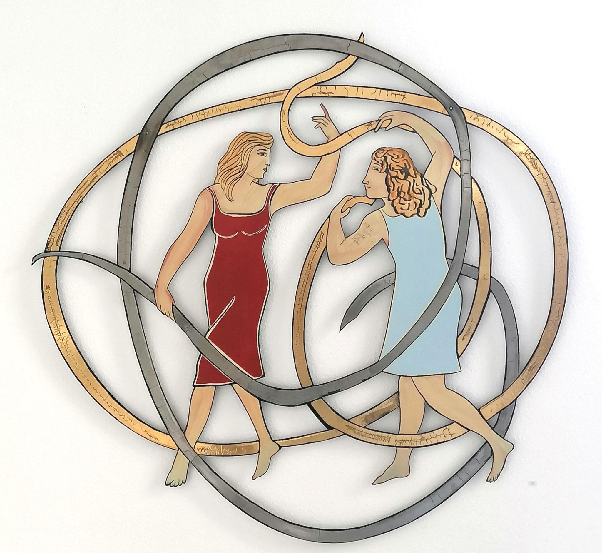 Moritz Götze, Zwei Mädchen mit Band - Gold & Platin, 2020, Emaillemalerei, 100x100cm