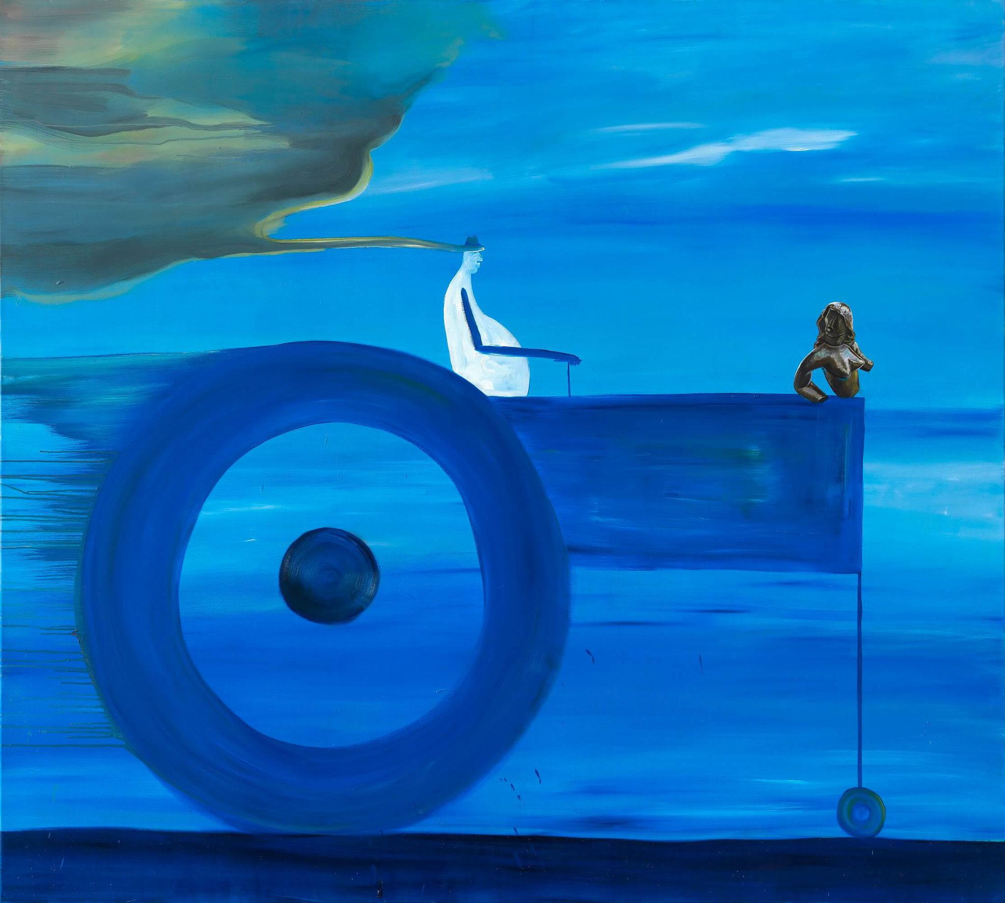 Böhme / Maderthaner / Kodritsch, Blaue Luft, Mischtechnik auf Leinwand, 180 x 200 cm, 2016