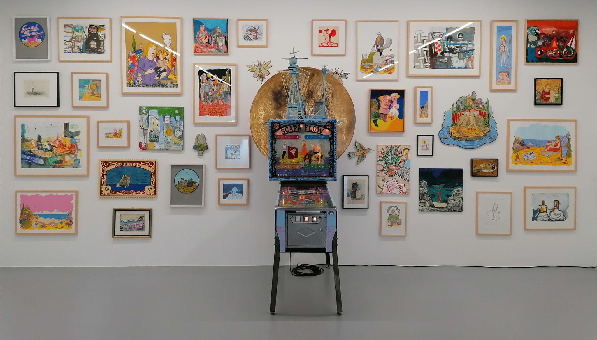 Ausstellungsansicht, Wandinstallation, Arbeiten von Giebler und Götze