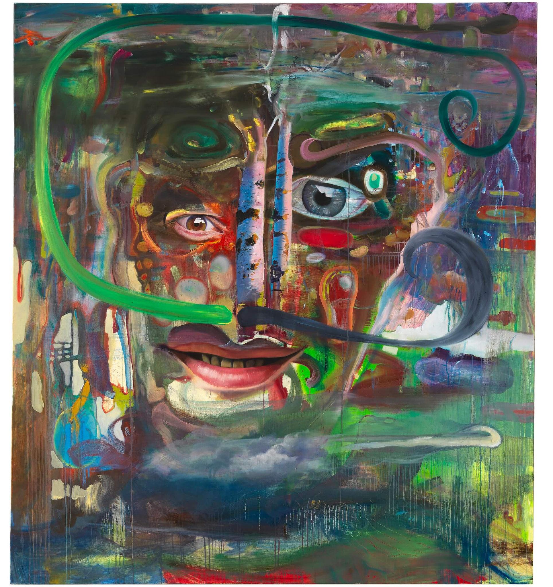 Böhme / Maderthaner / Kodritsch, Eine Frage der Zusammenstellung, Mischtechnik auf Leinwand, 200 x 180 cm, 2016