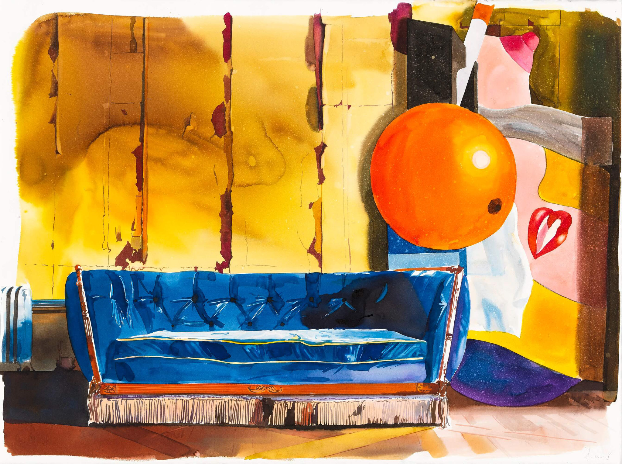 "Franziska Maderthaner, ""Was bleibt? - Valotton?"", 2018, Aquarell auf Bütten, 56 x 76cm"
