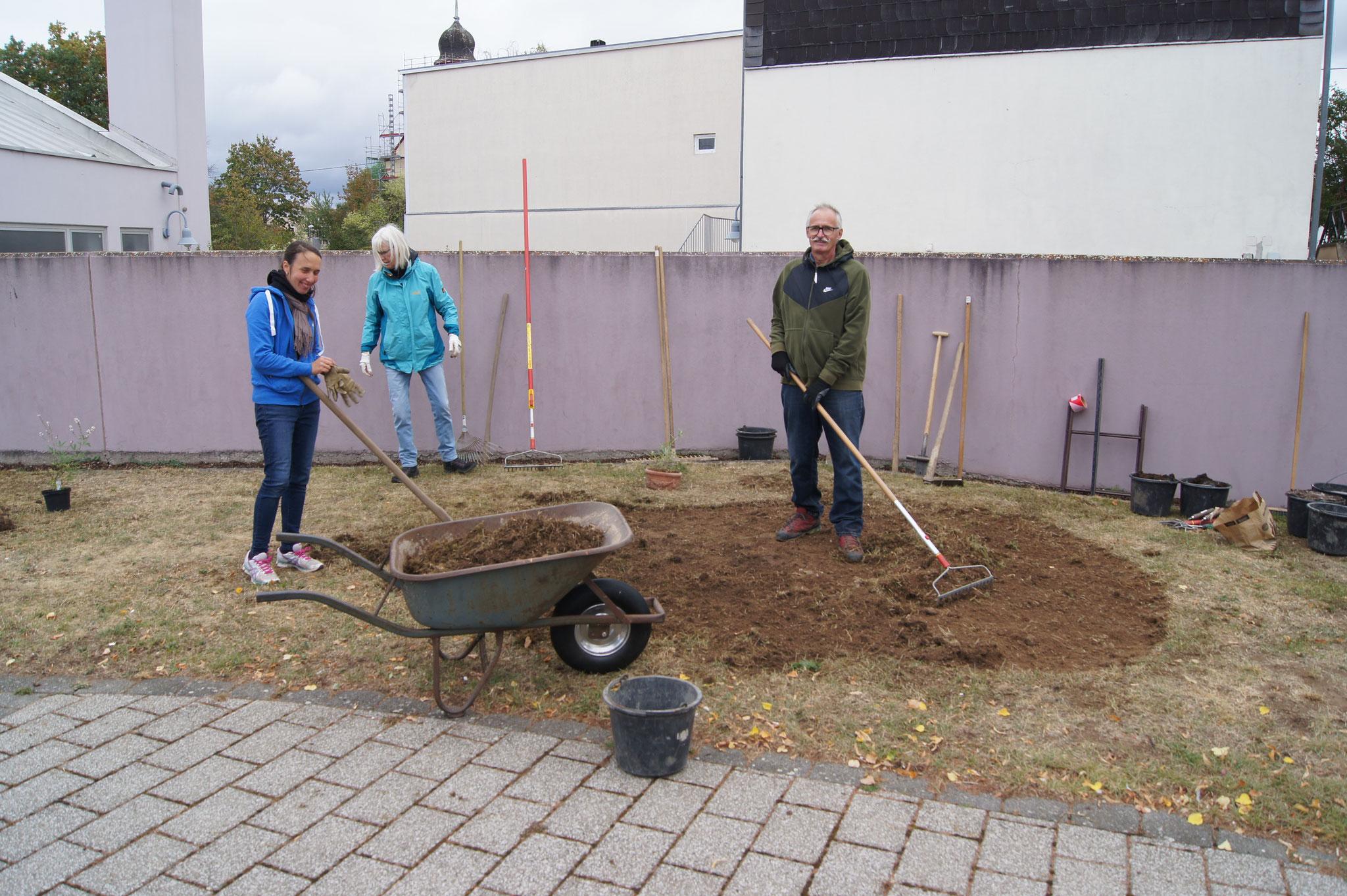 Grünfläche Kirche St. Martin, Vorbereitung Saatbett, Herbst 2020
