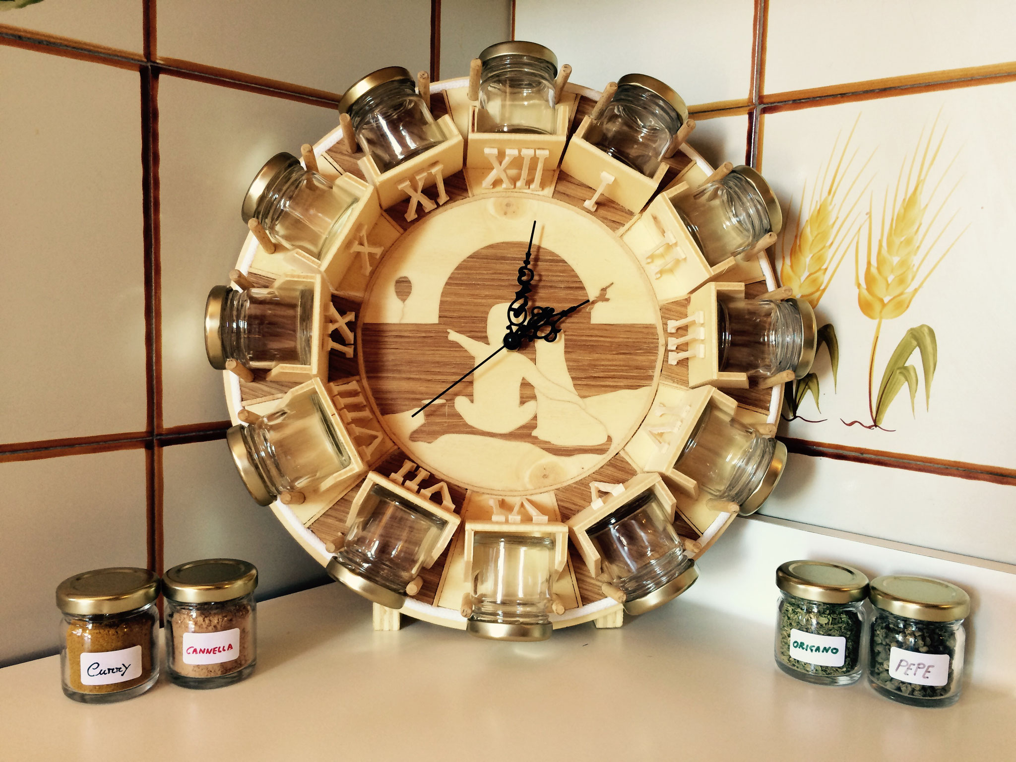 Porta spezie in legno tema chiaro