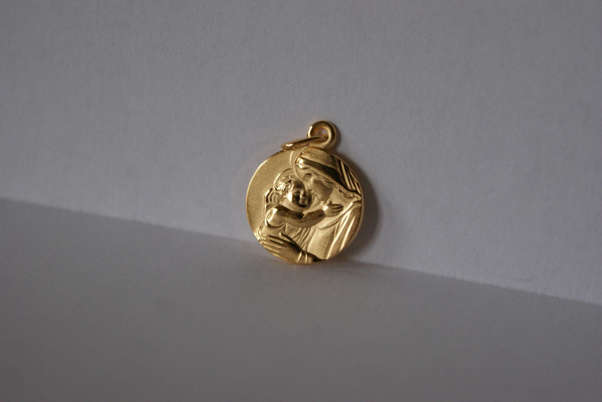 Médaille, plaqué or, Vierge à l'Enfant 2.