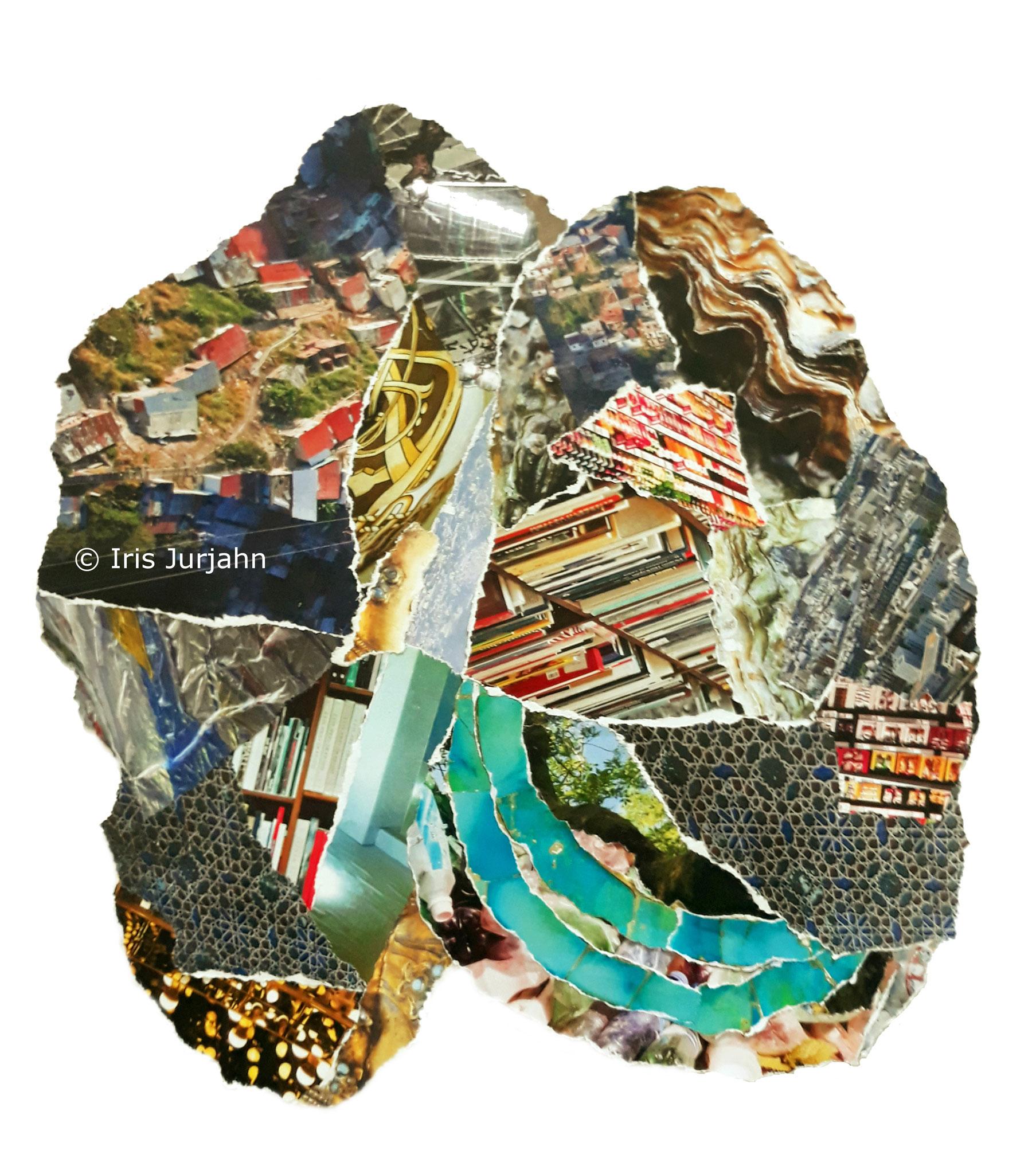 Brain, Papiercollage, 42 x 32 cm  (inkl. Objektrahmen), 2019