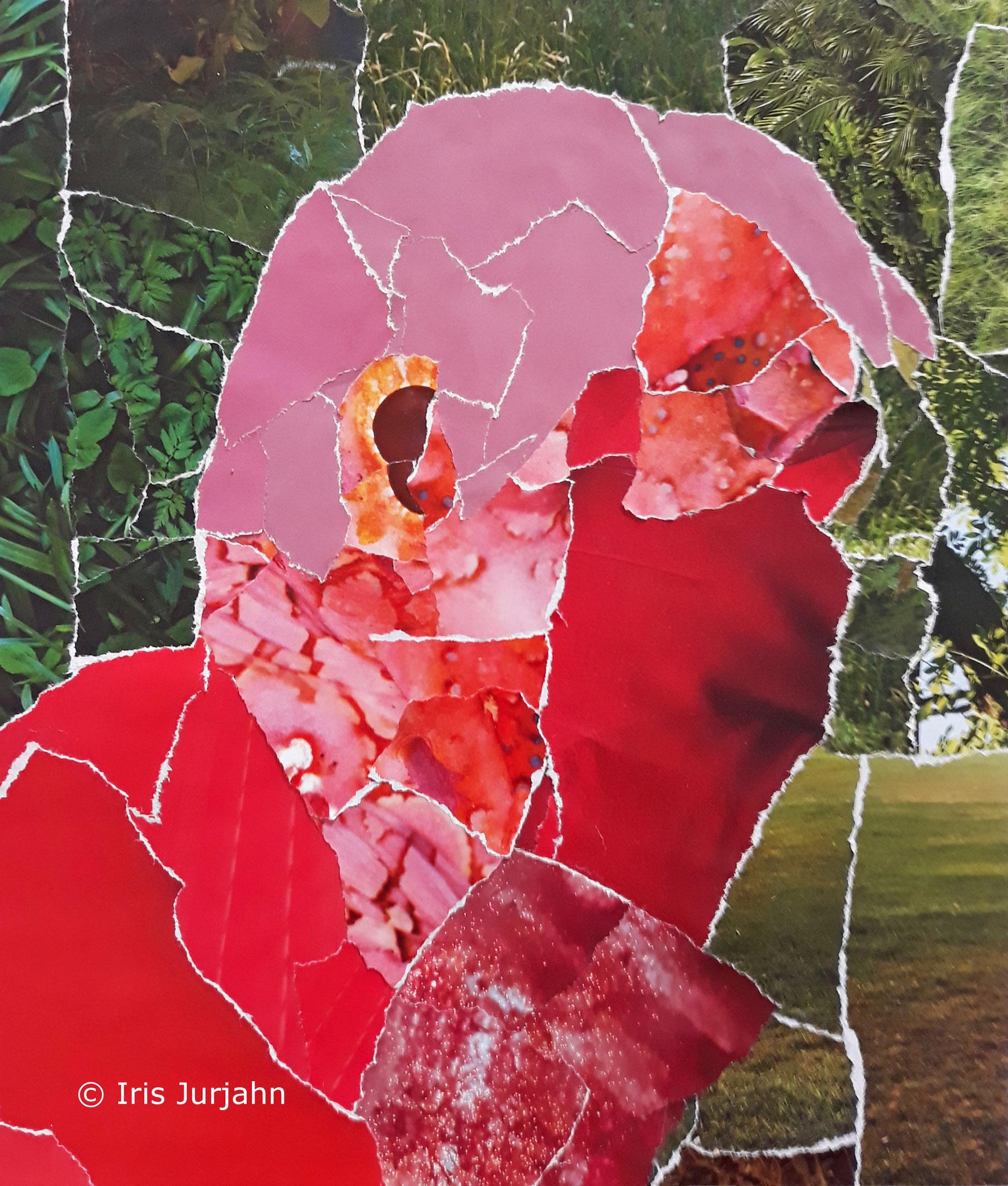 People Thinker II, Papiercollage, 32 x 32 cm  (inkl. Objektrahmen), 2019