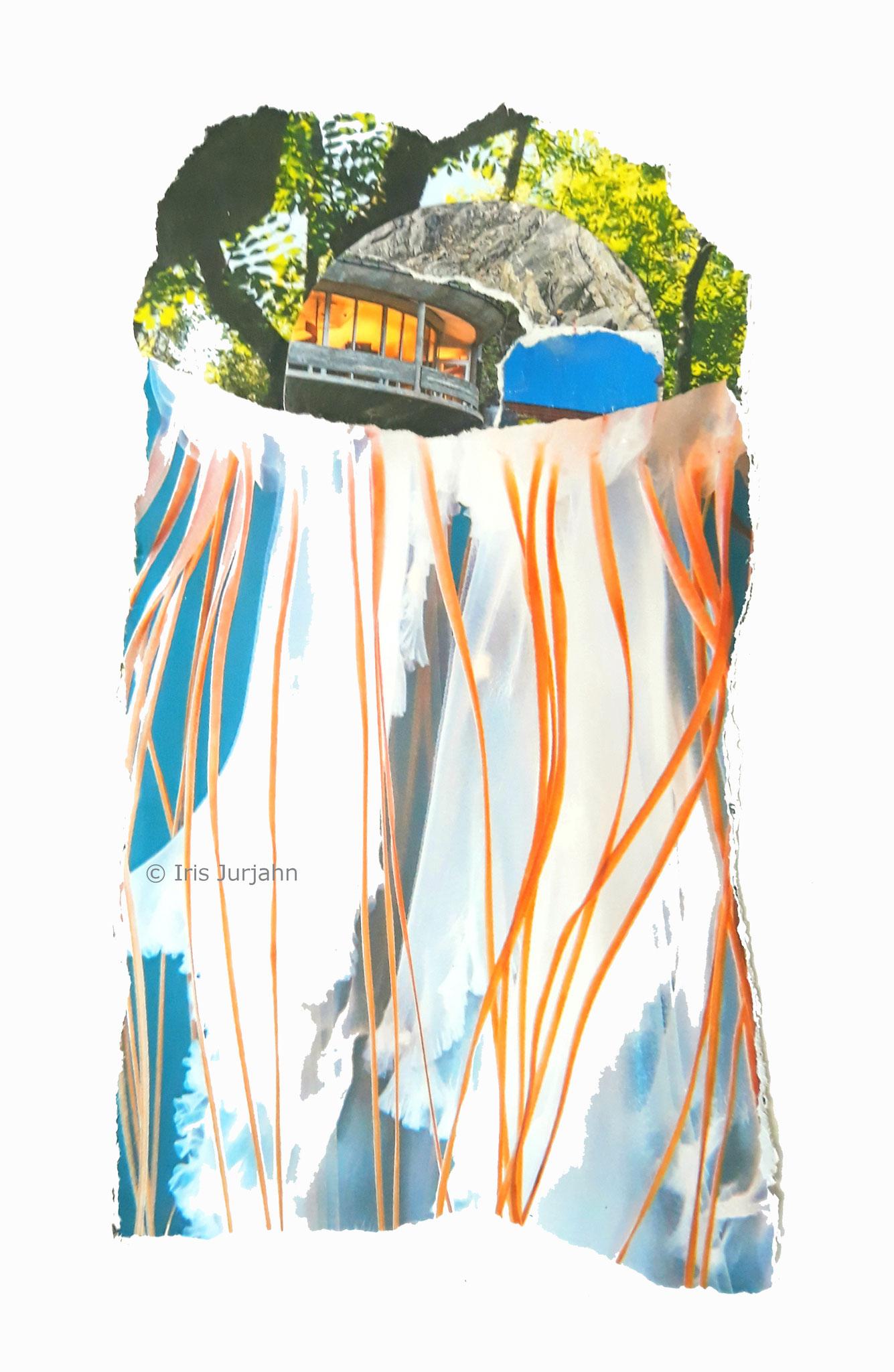 Jellyfish, Papiercollage, 26 x 20 cm (inkl. Objektrahmen), 2019