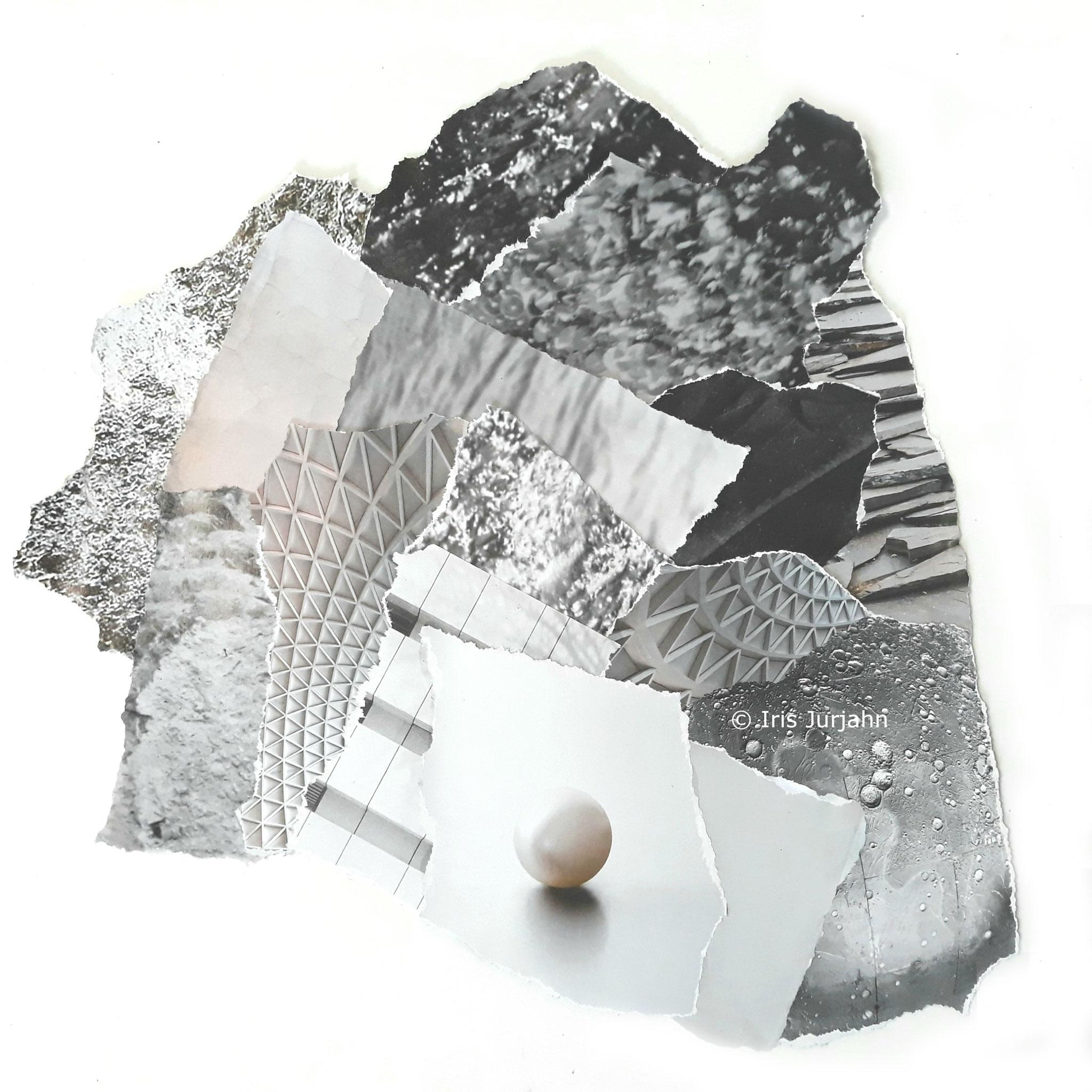 Pearl, Papiercollage, 30 x 26 cm (inkl. Objektrahmen), 2019