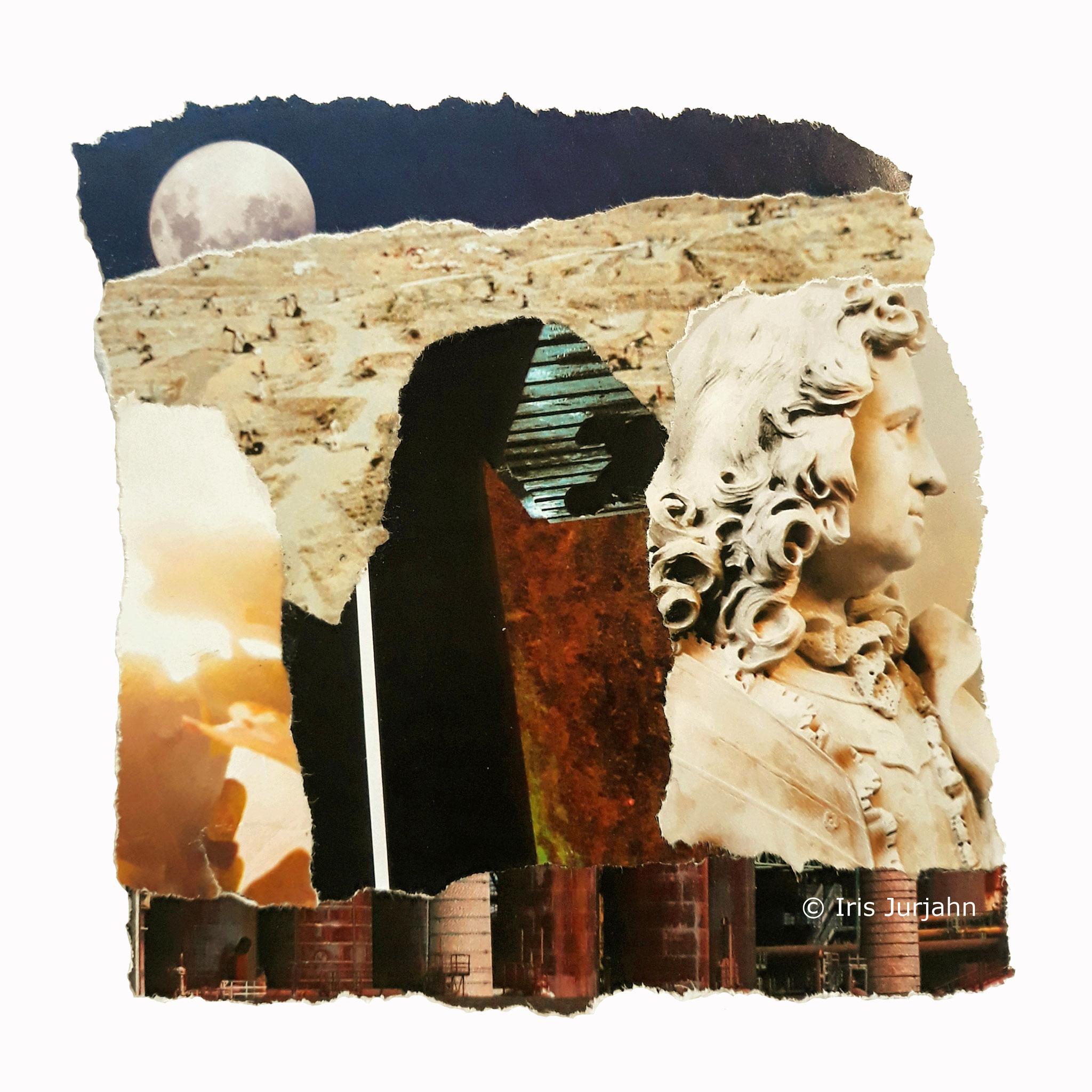 Lunlumo, Papiercollage, 22 x 22 cm  (inkl. Objektrahmen), 2019