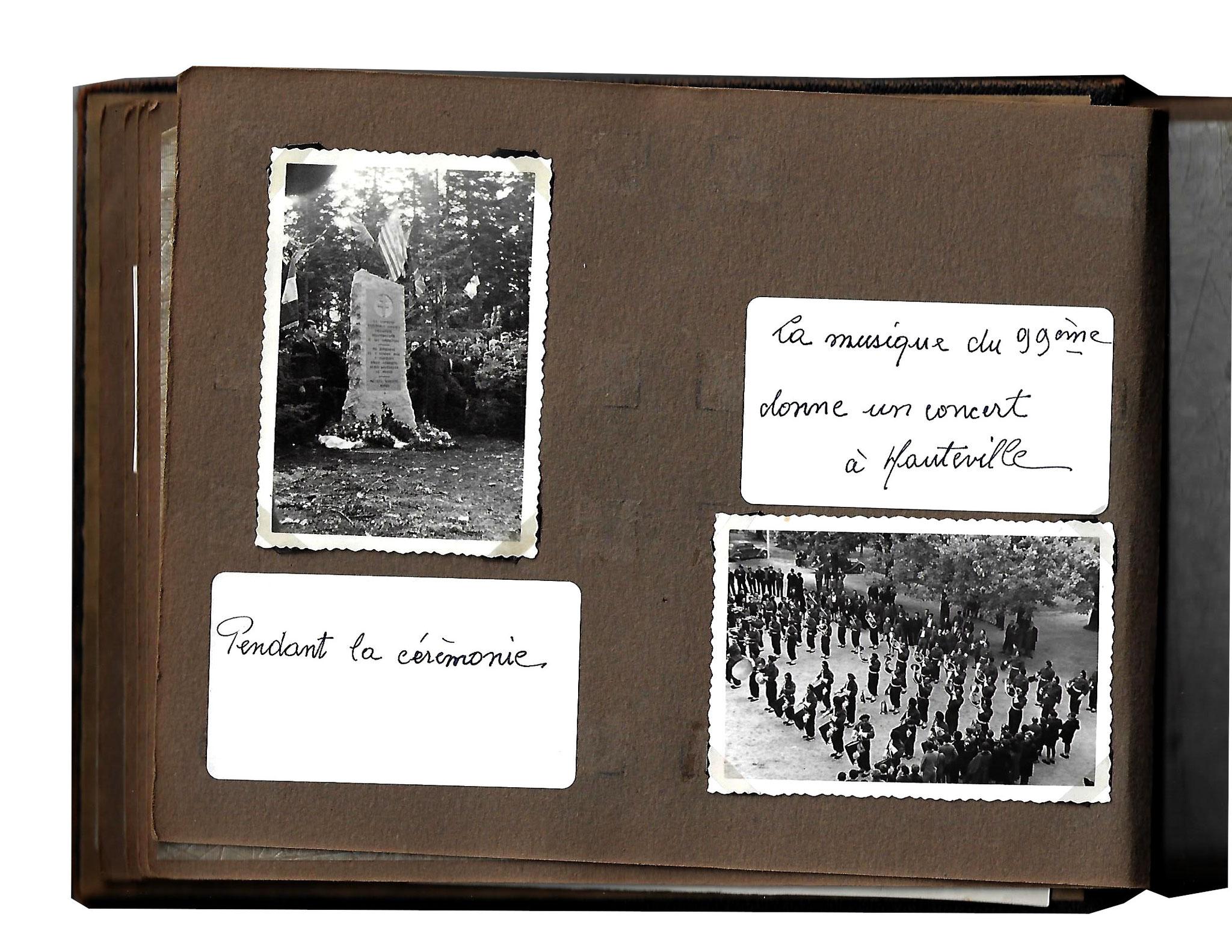 1946. Album de l'inauguration de la stèle avant le transfert des corps au cimetière militaire de la Doua [Lyon] des aviateurs anglo-canadien